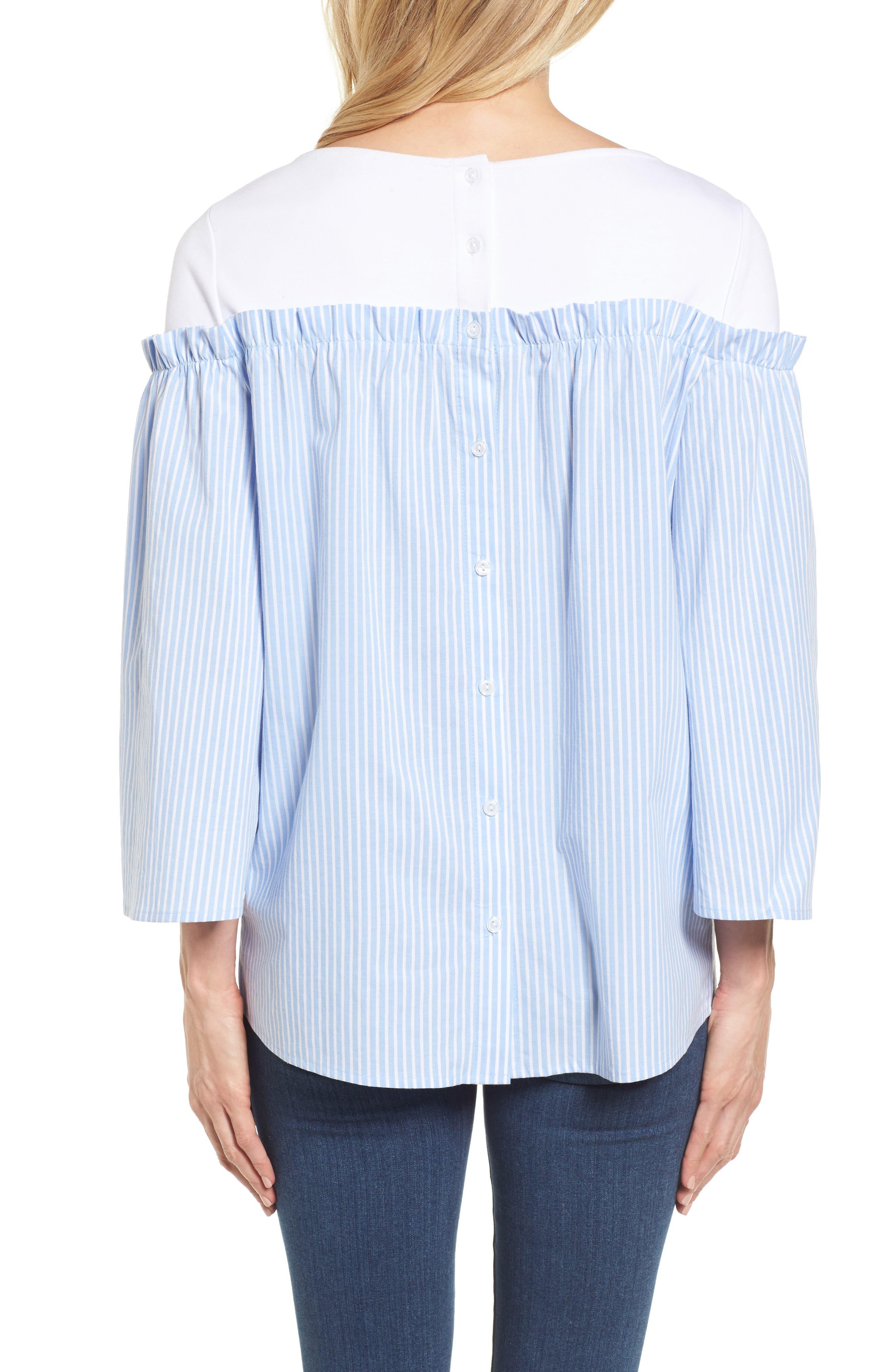 Ruffle Detail Mix Media High/Low Shirt,                             Alternate thumbnail 2, color,                             Blue- White Stripe