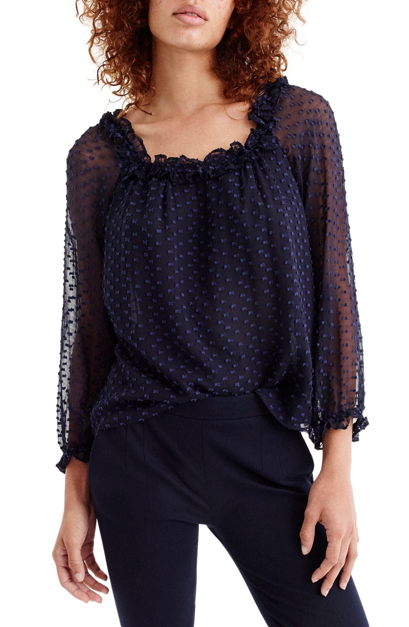 Penny Ruffle Silk Blend Top,                         Main,                         color, Navy