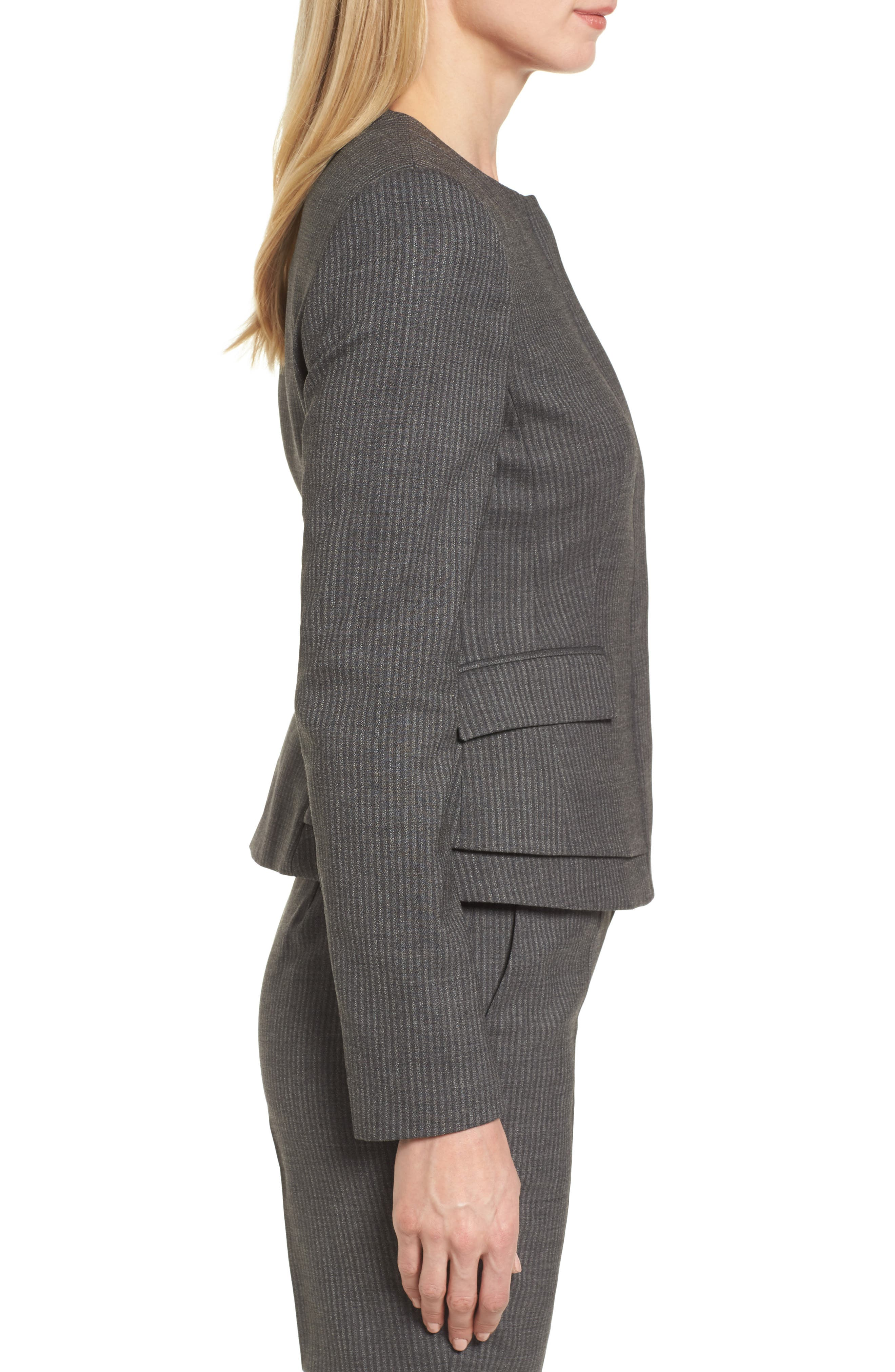Jasyma Stripe Wool Suit Jacket,                             Alternate thumbnail 3, color,                             Dark Grey Fantasy