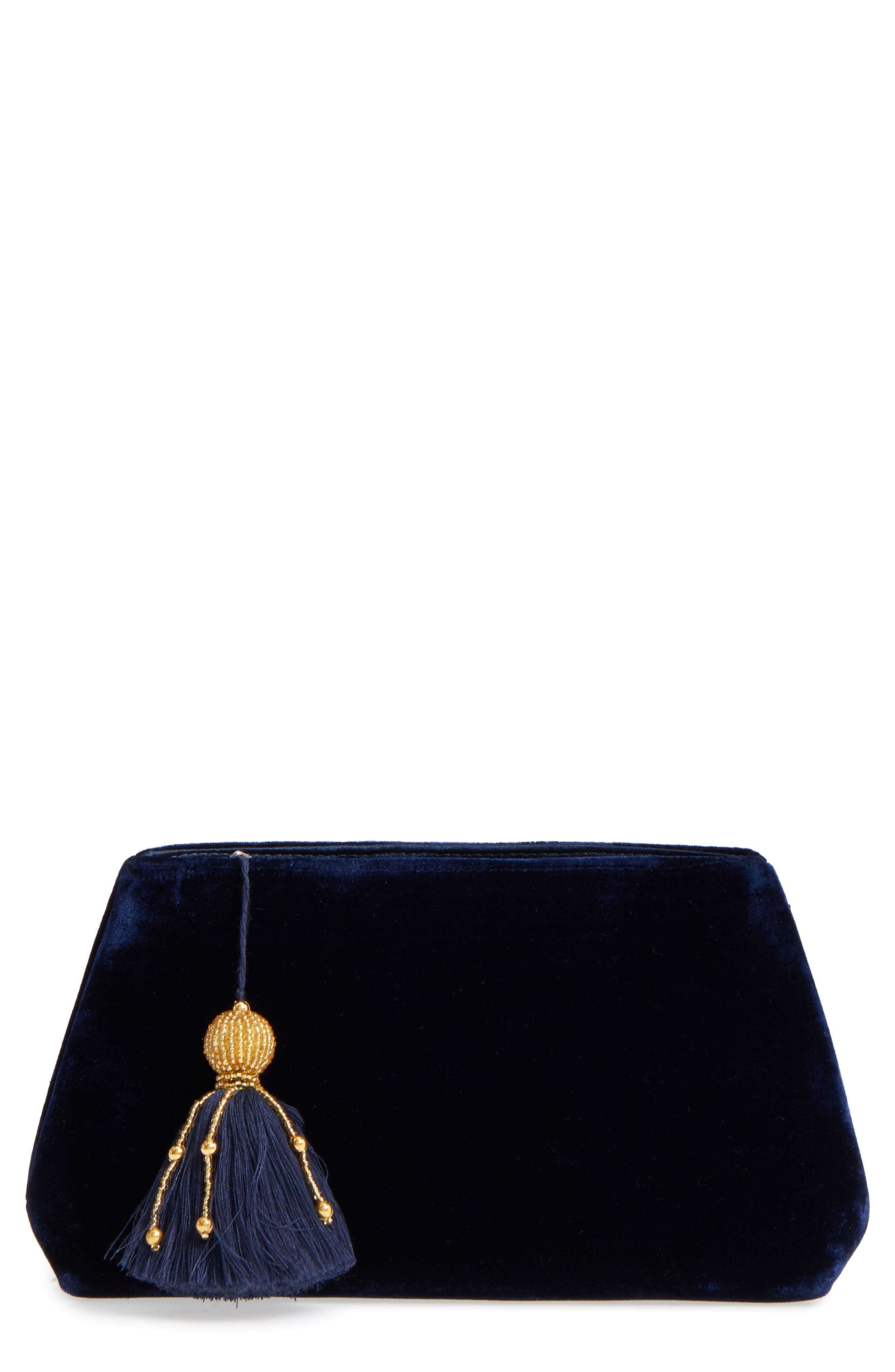 Larissa Velvet Zip Pouch,                         Main,                         color, Midnight
