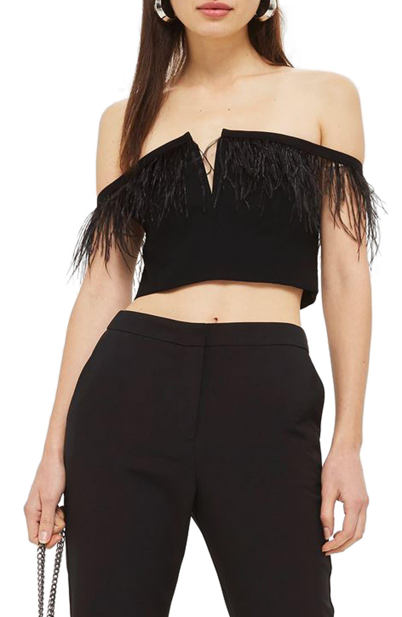 Feather Trim Off the Shoulder Crop Top,                         Main,                         color, Black
