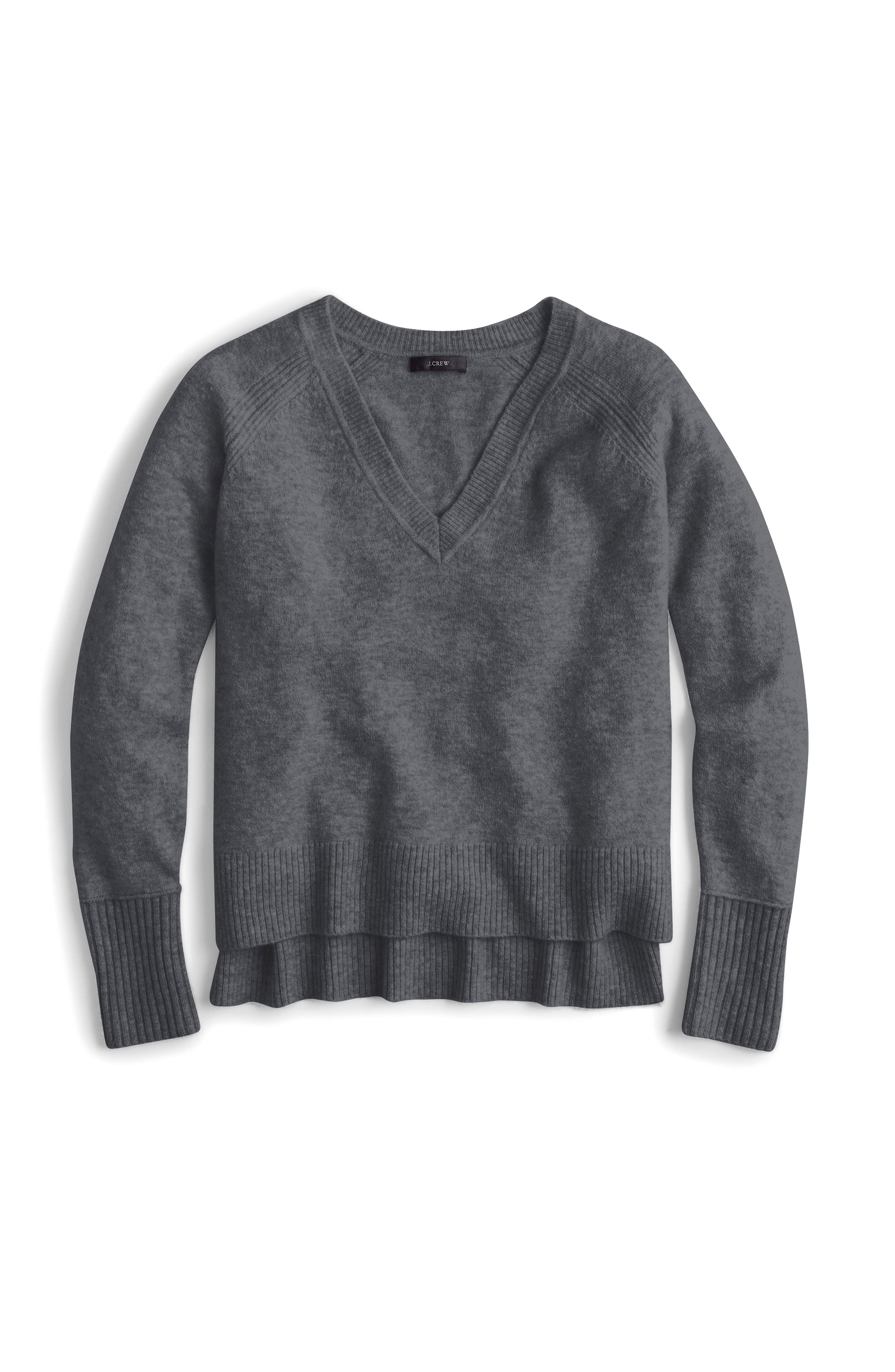 J.Crew Supersoft Yarn V-Neck Sweater,                             Alternate thumbnail 4, color,                             Heather Carbon
