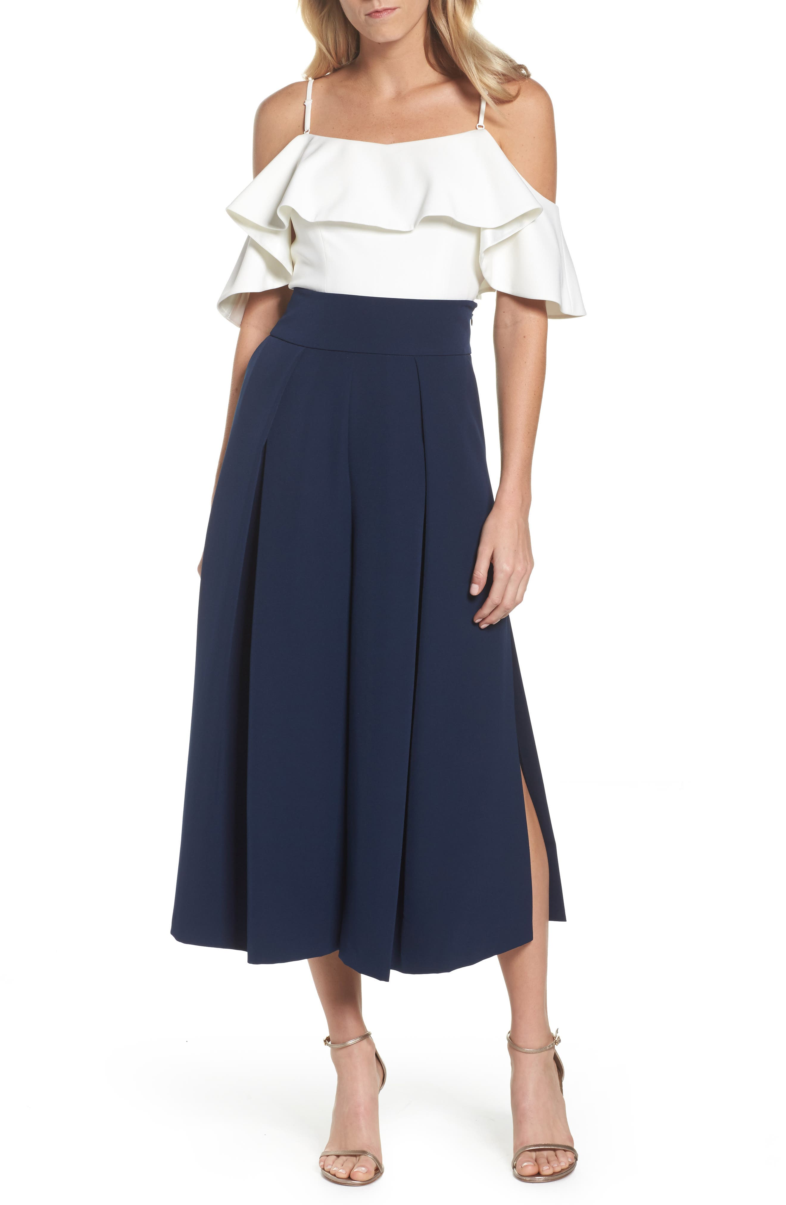 Pleated Wide Leg Pants,                             Alternate thumbnail 7, color,                             Navy