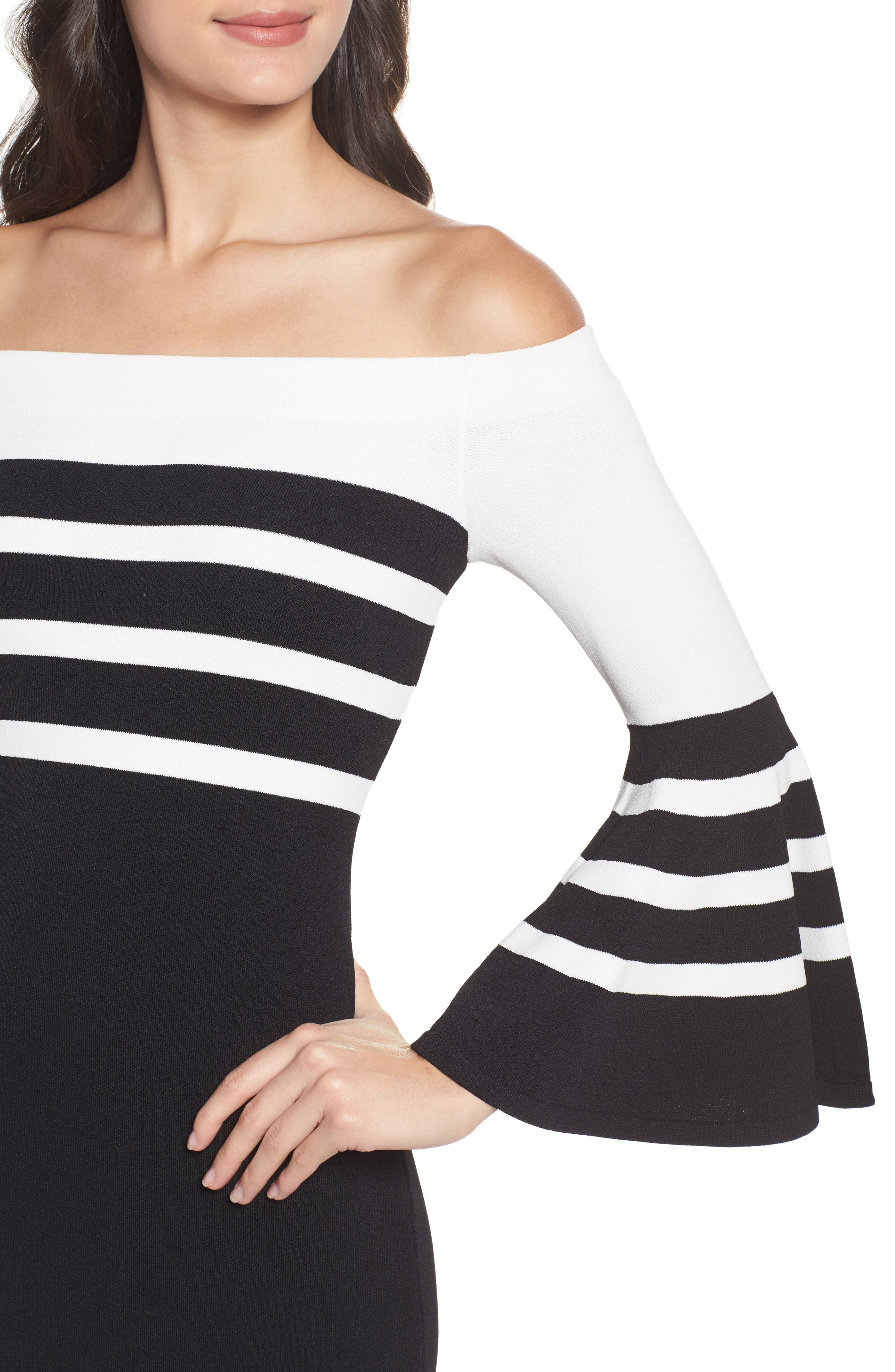 Off the Shoulder Sweater Dress,                             Alternate thumbnail 4, color,                             Black/ White Stripe