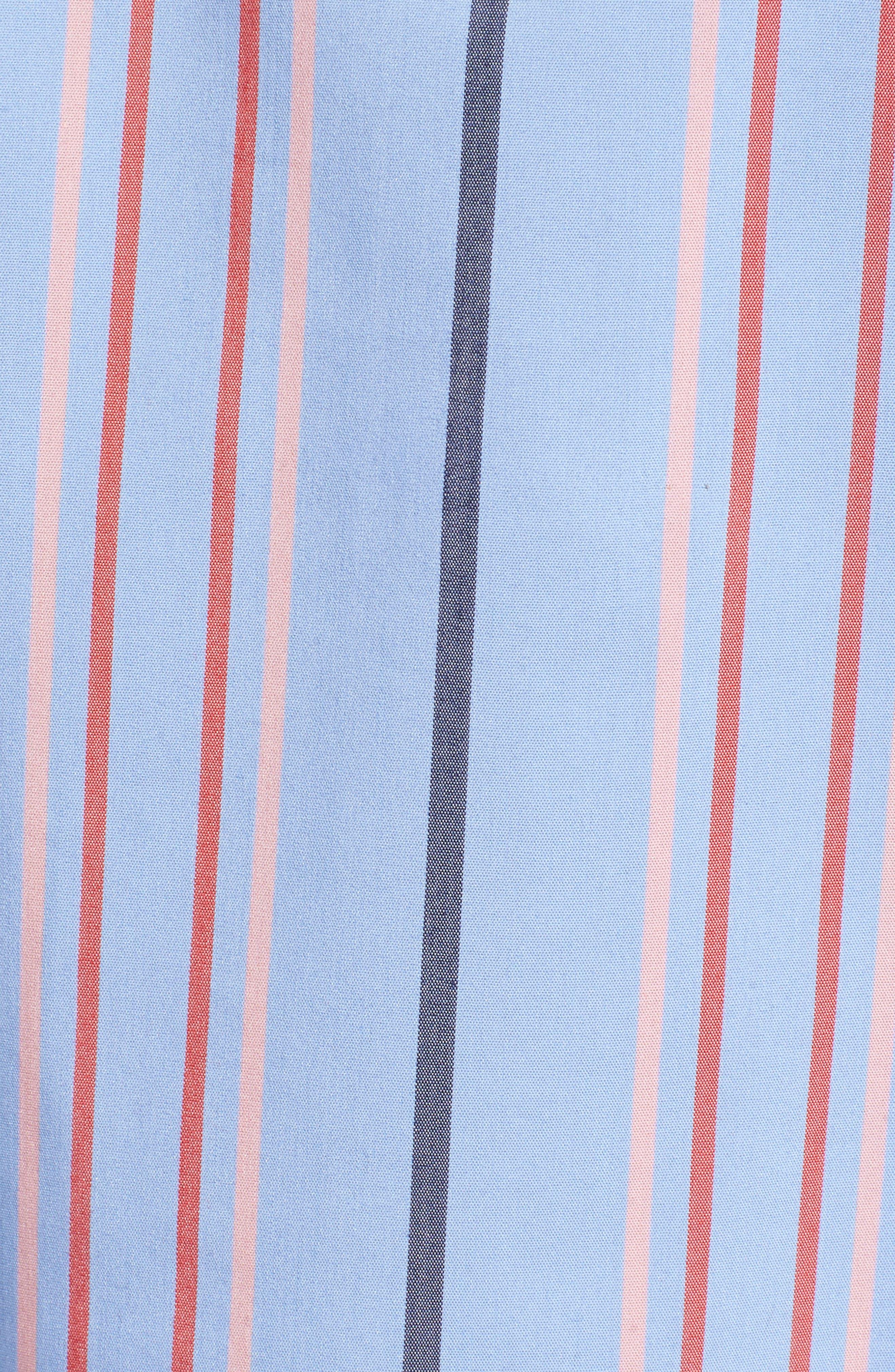 Ruffle Detail Poplin Shirt,                             Alternate thumbnail 5, color,                             Blue Multi Stripe