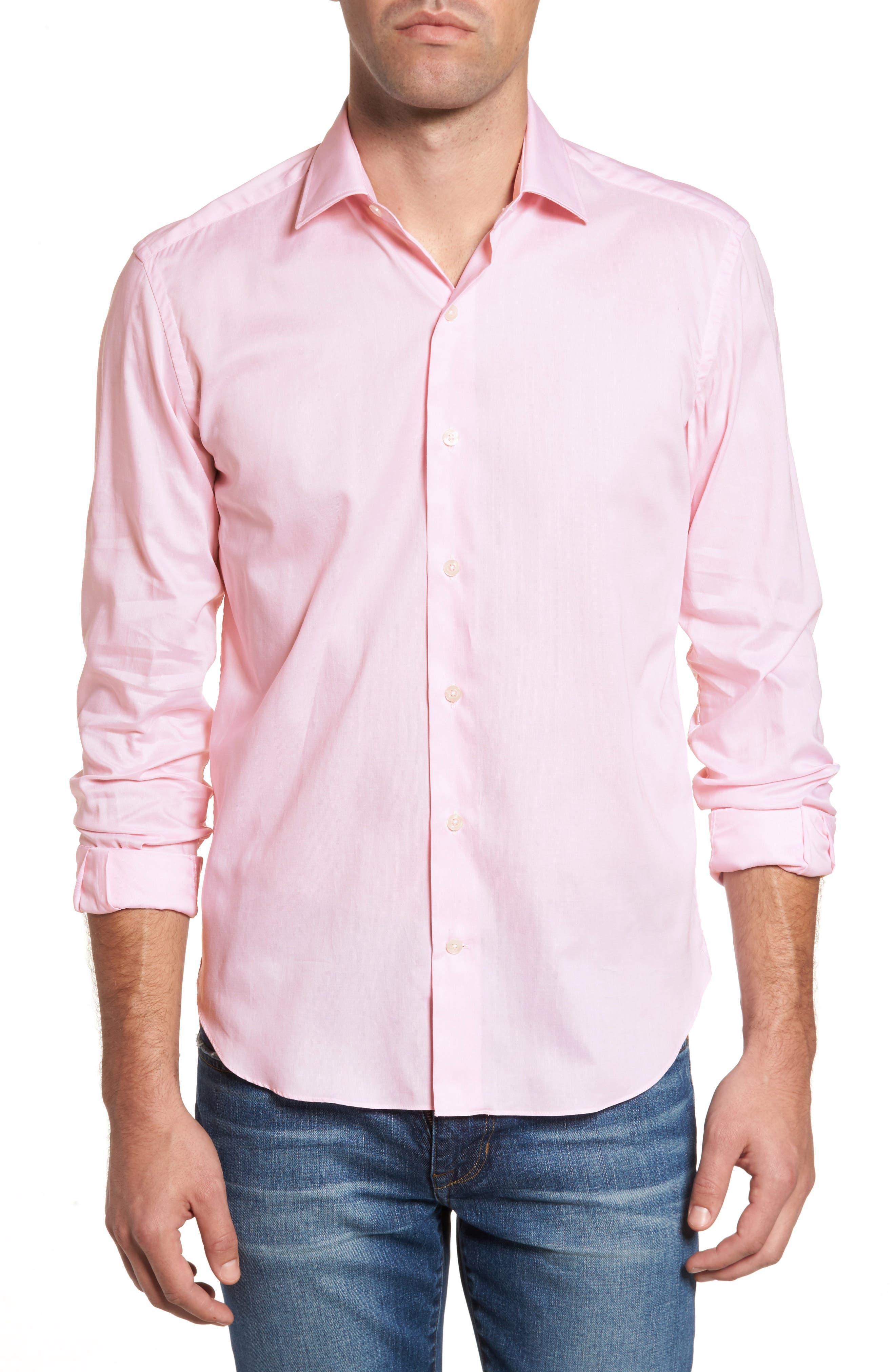 Slim Fit Micro Stripe Sport Shirt,                         Main,                         color, Pink