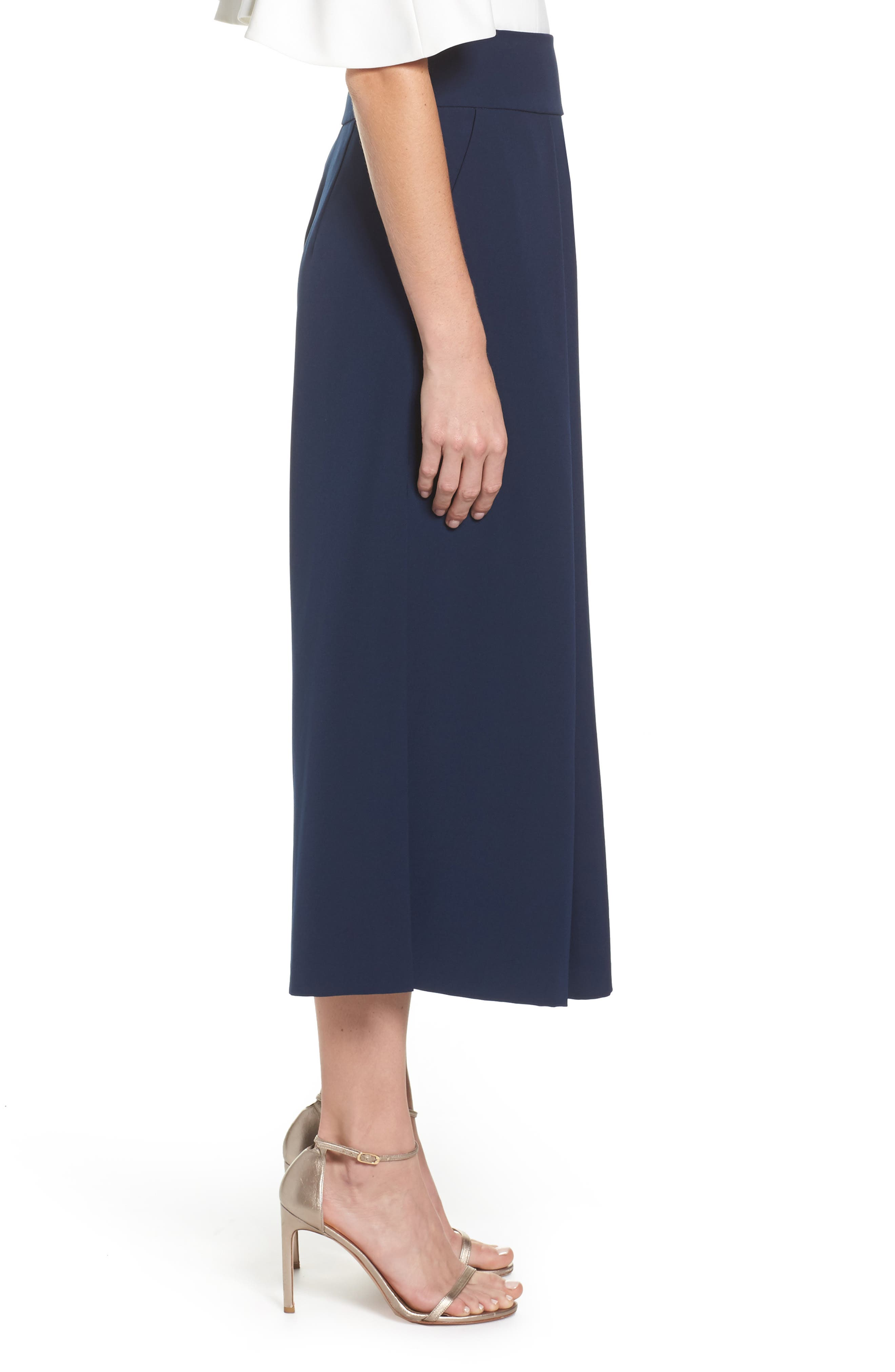Pleated Wide Leg Pants,                             Alternate thumbnail 3, color,                             Navy