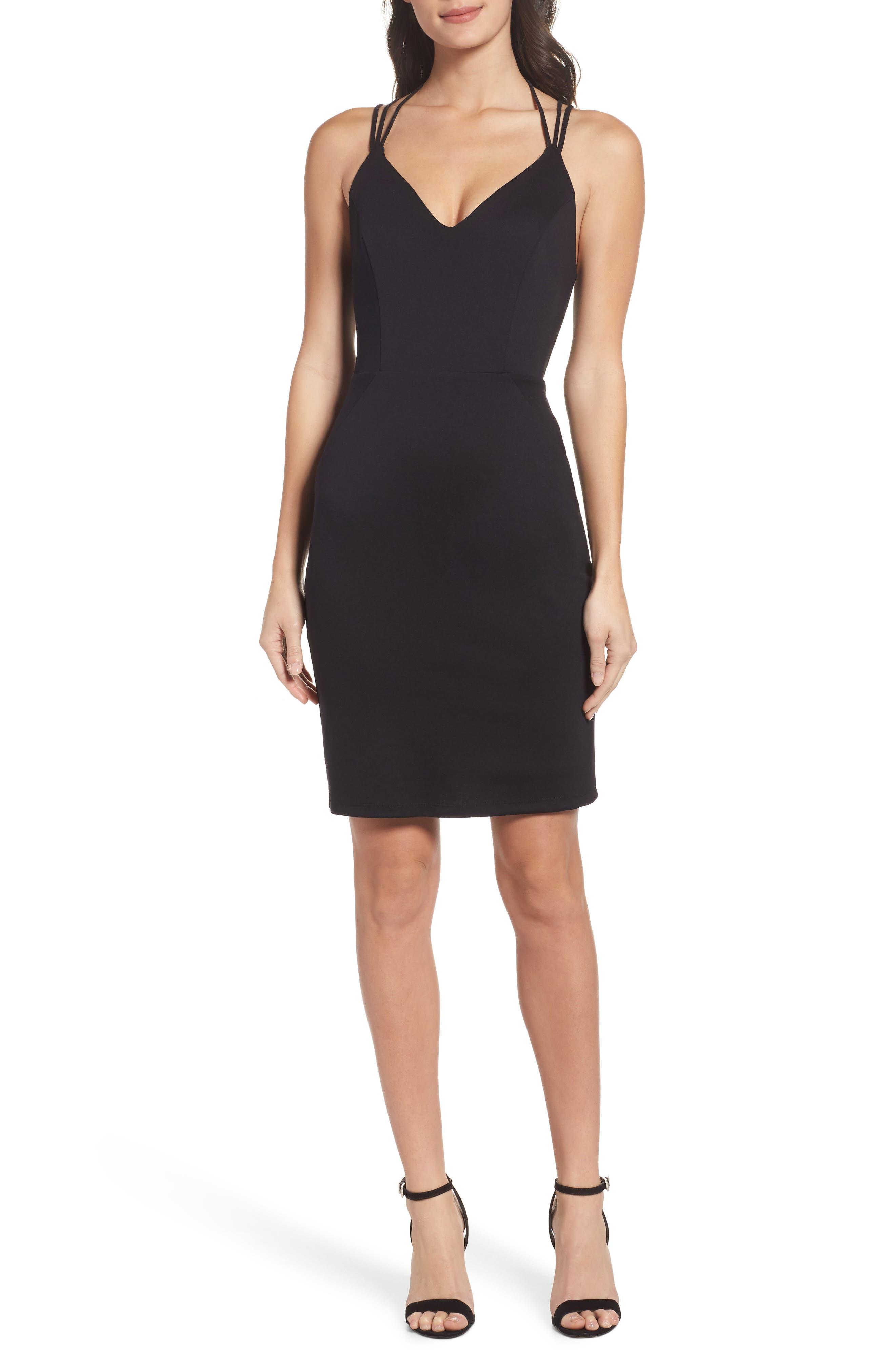 Strappy Body-Con Dress,                         Main,                         color, Black