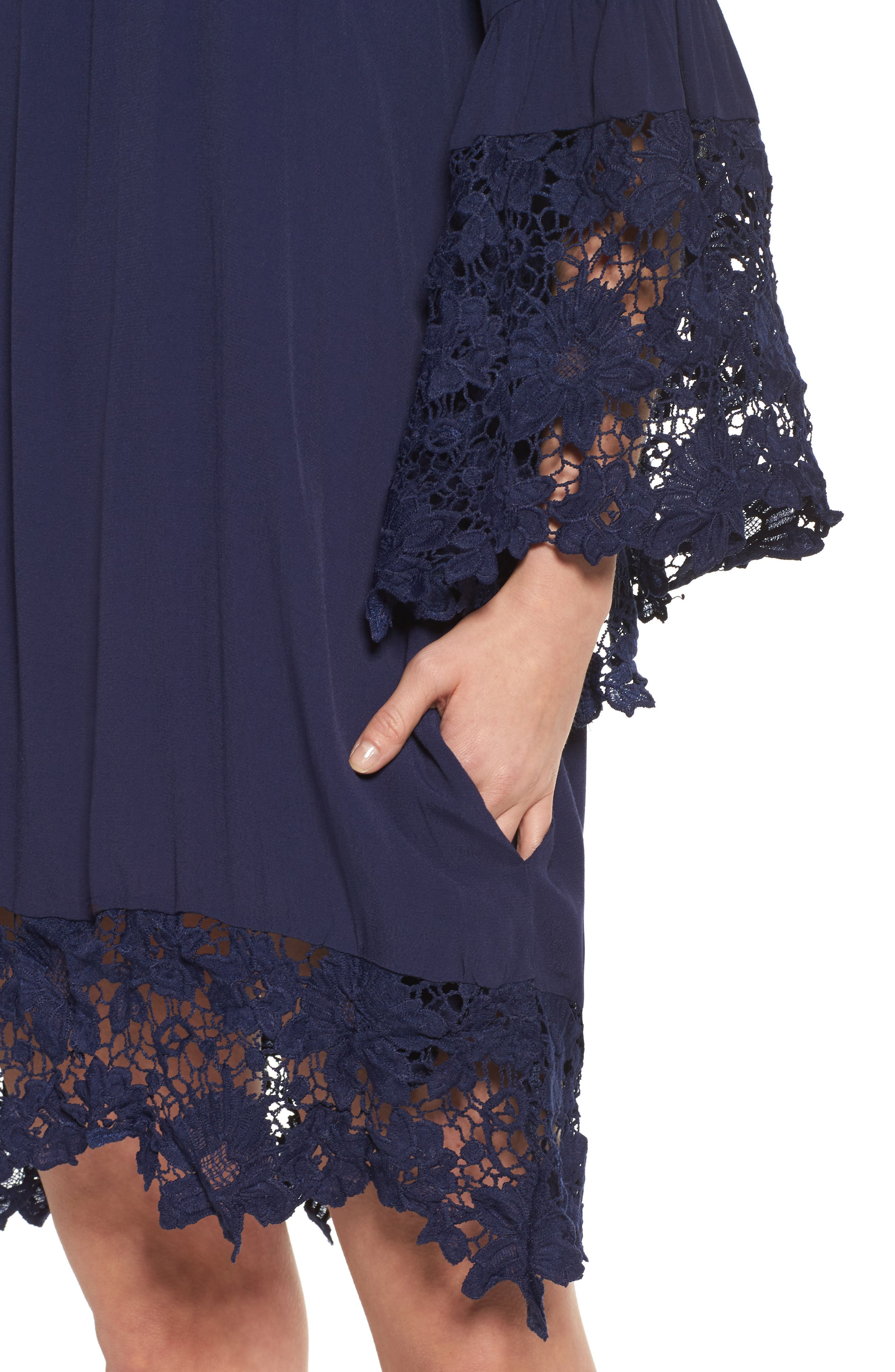 Jolie Lace Accent Cover-Up Dress,                             Alternate thumbnail 4, color,                             Navy
