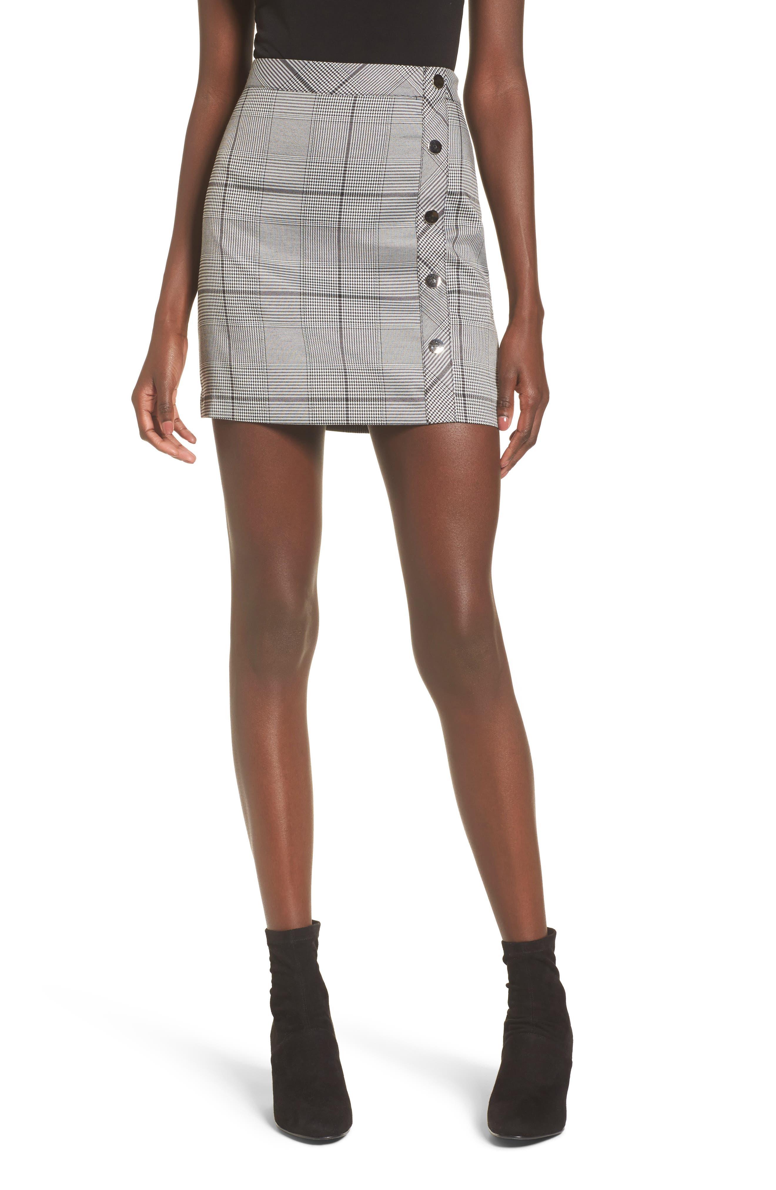 Button Plaid Miniskirt,                             Main thumbnail 1, color,                             Black Plaid
