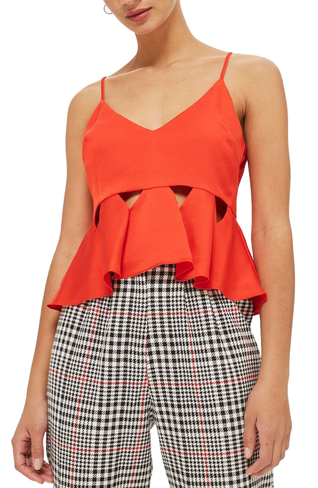 Alternate Image 1 Selected - Topshop Cutout Satin Camisole Top