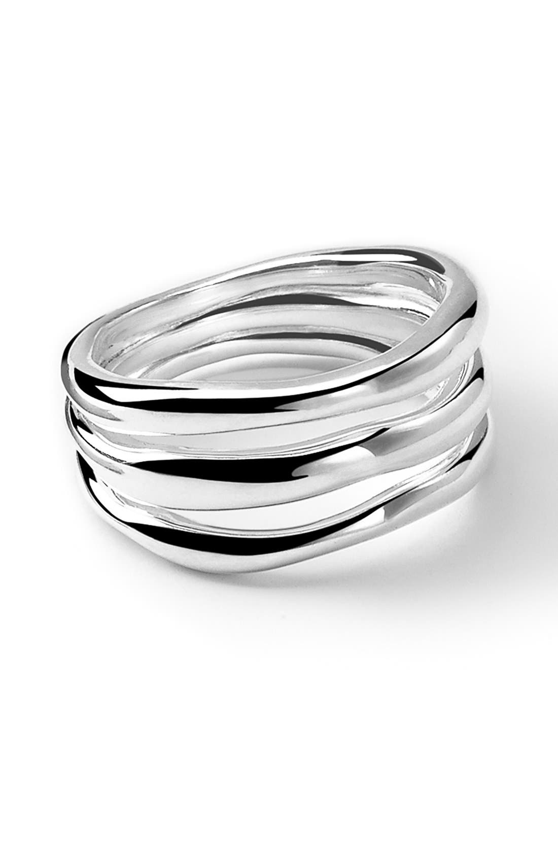 'Glamazon' Triple-Band Ring,                         Main,                         color, Silver