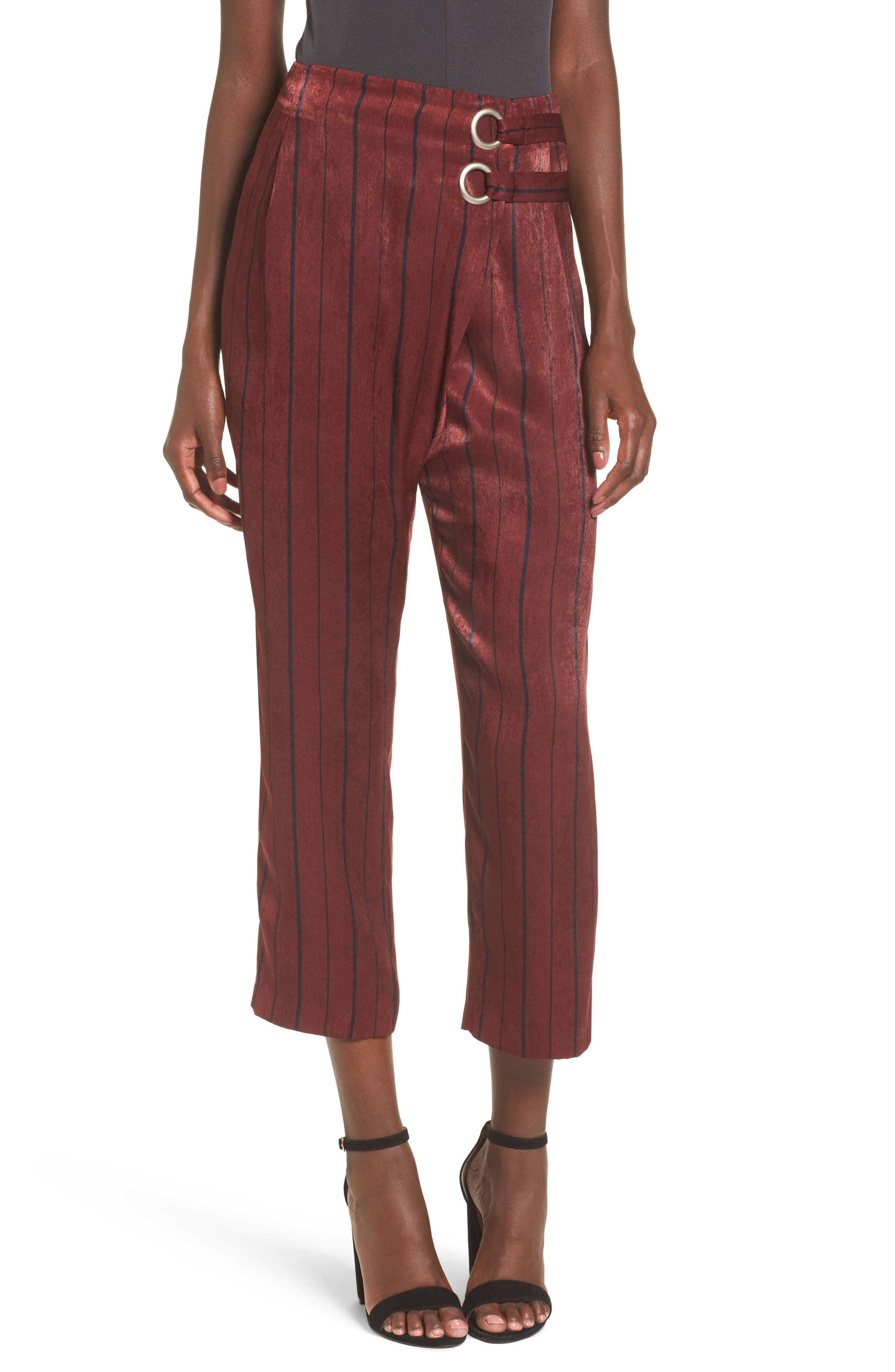 Stripe Crop Pants,                             Main thumbnail 1, color,                             Wine Multi