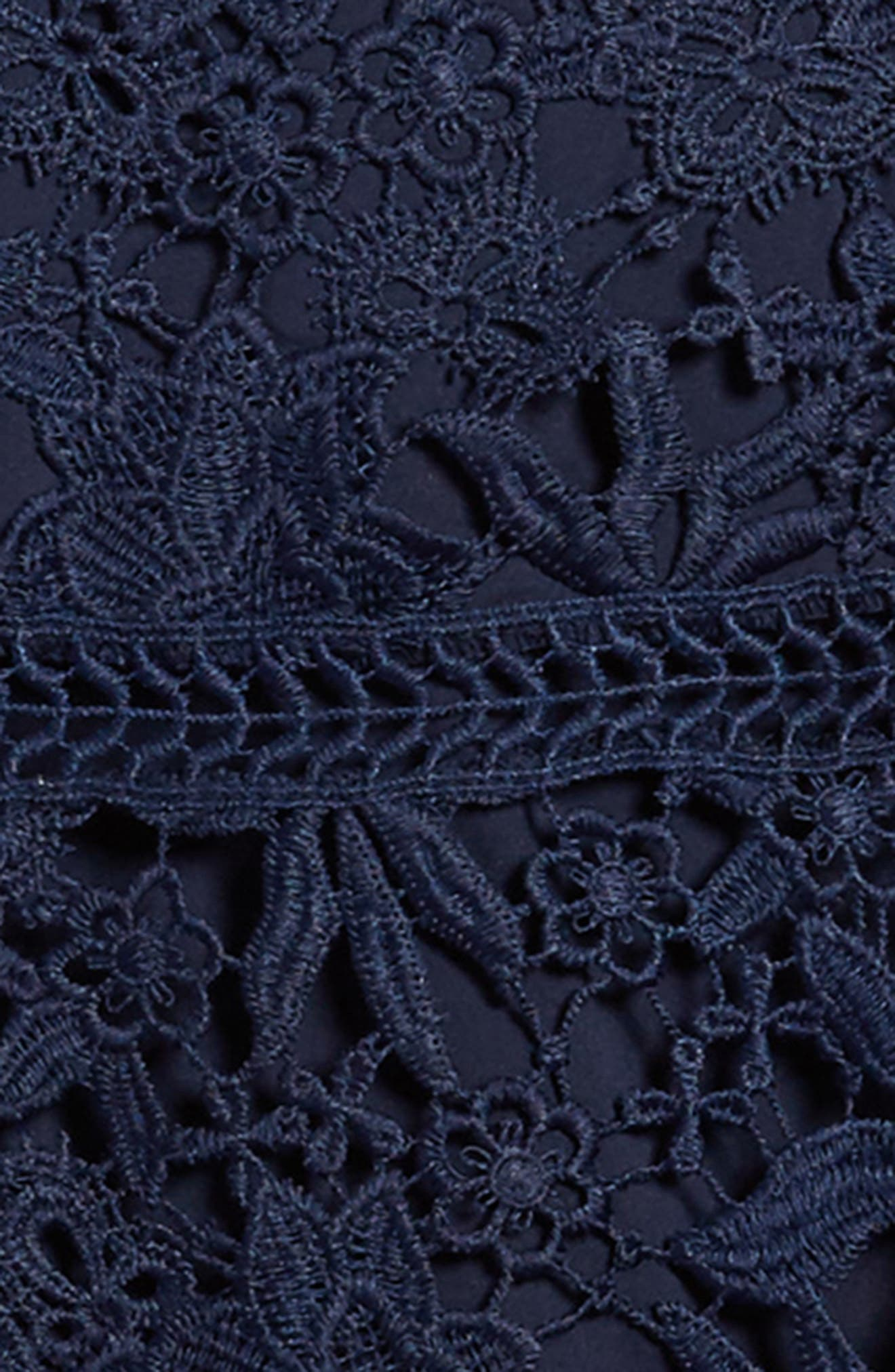 Monroe Bell Sleeve Lace Dress,                             Alternate thumbnail 3, color,                             Navy