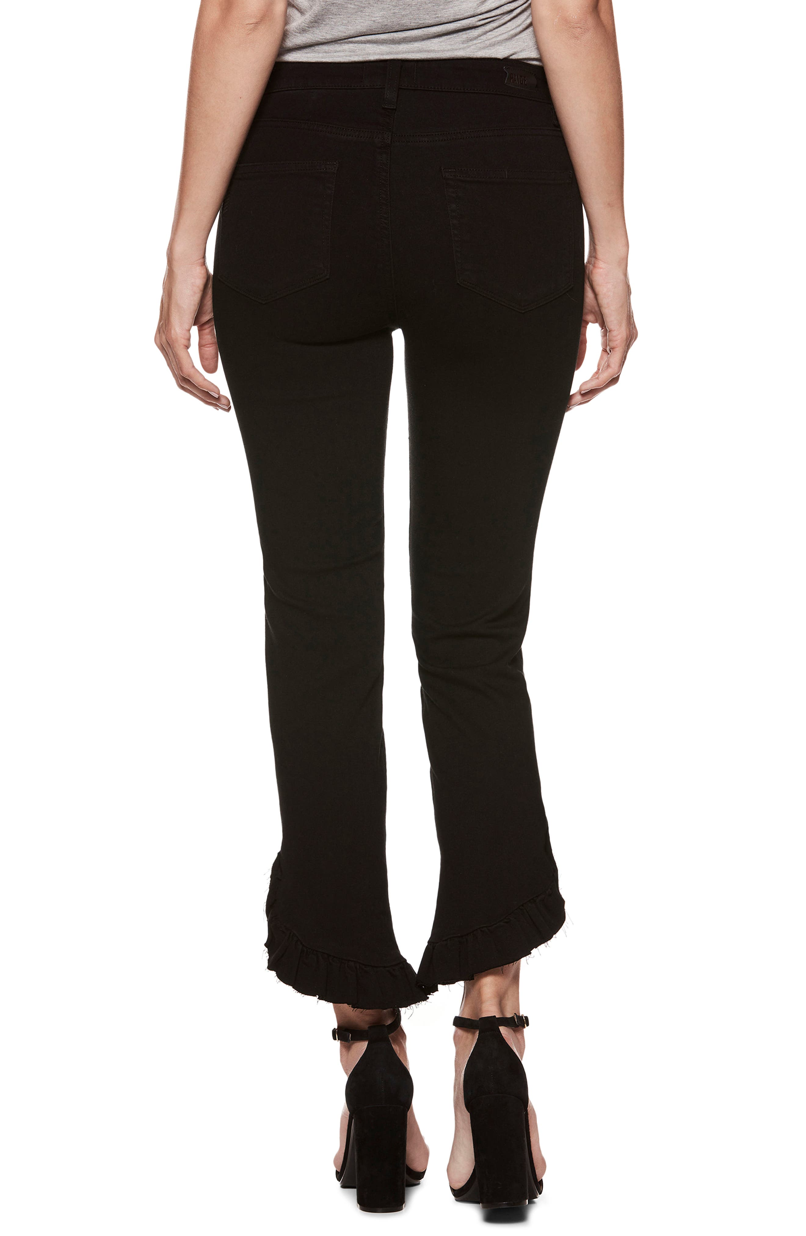 Transcend - Hoxton High Waist Ankle Straight Leg Jeans,                             Alternate thumbnail 2, color,                             Black Shadow
