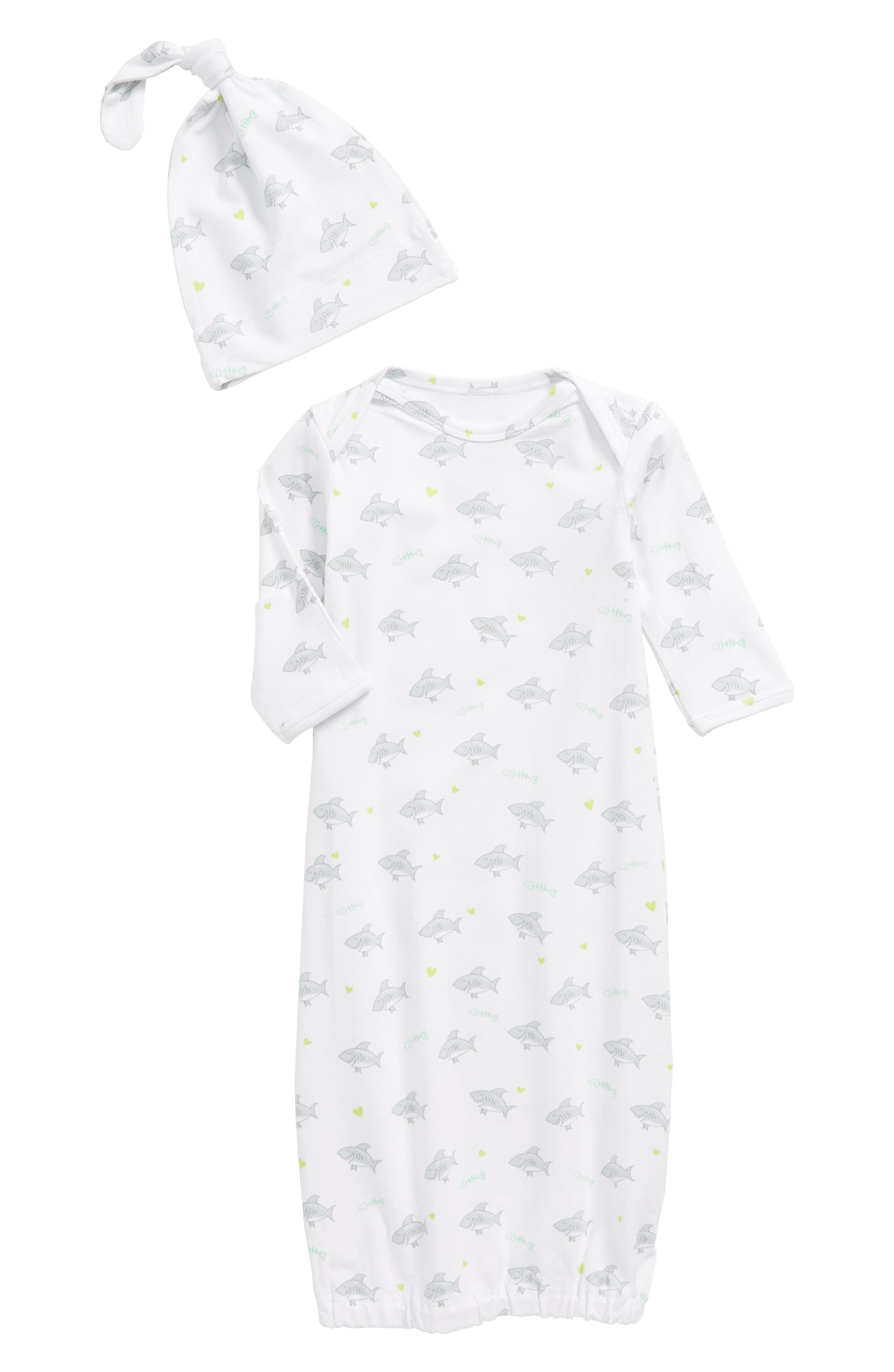 Main Image - Coco Moon Shark Gown & Hat Set (Baby)