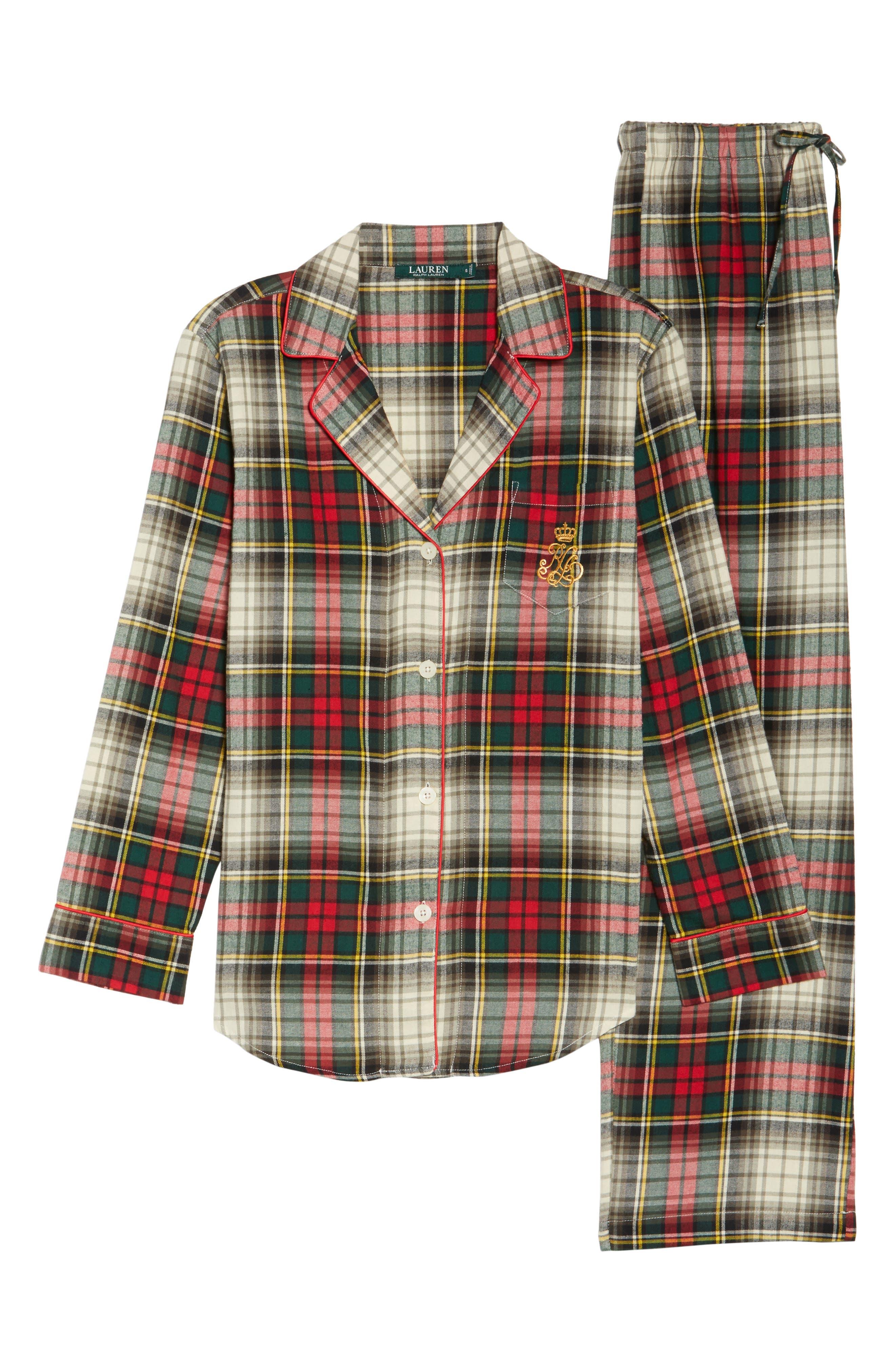 Cotton Pajamas,                             Alternate thumbnail 4, color,                             Ivory Plaid