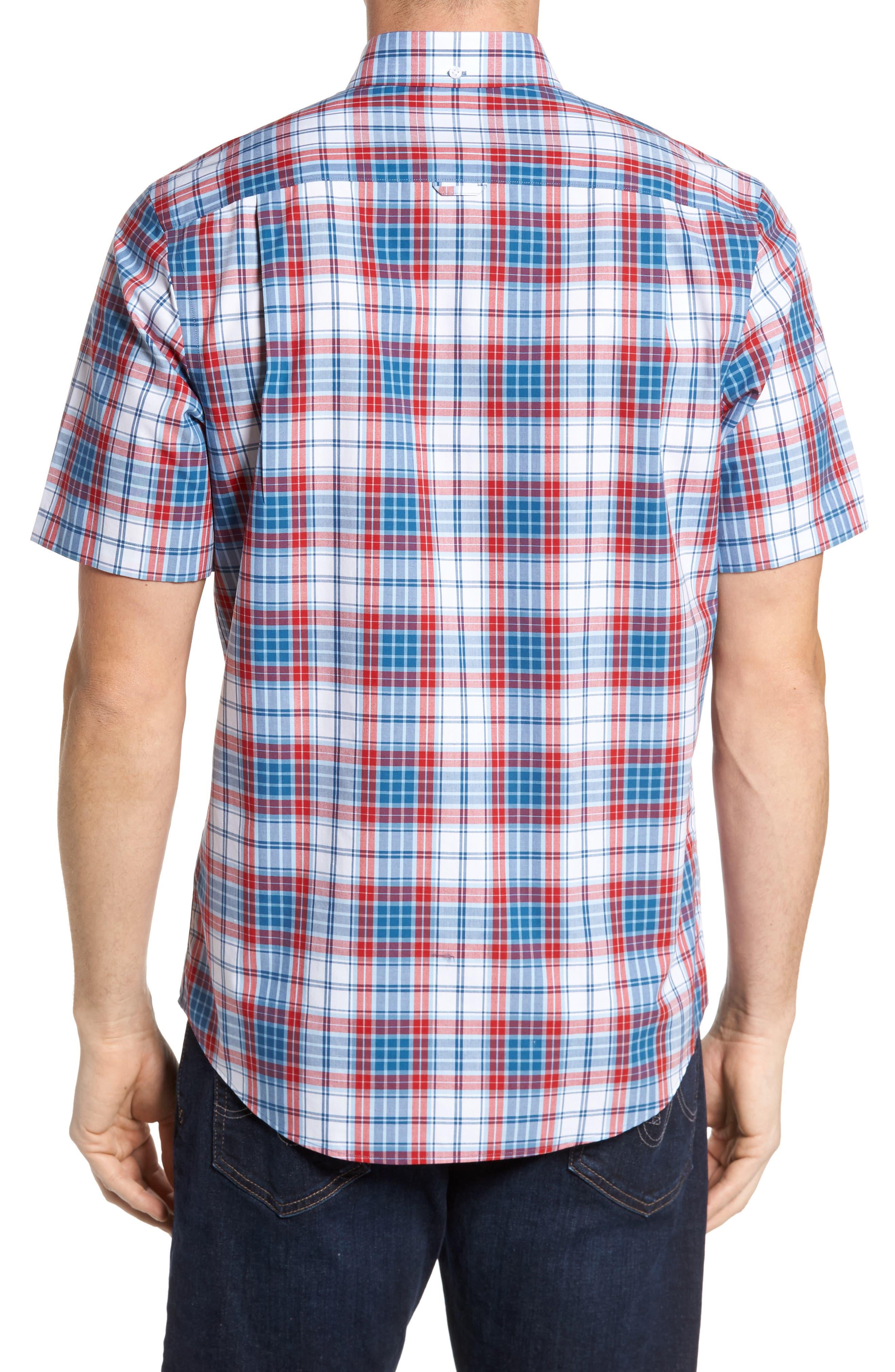Smartcare<sup>™</sup> Regular Fit Plaid Sport Shirt,                             Alternate thumbnail 2, color,                             White Red Heather Tartan