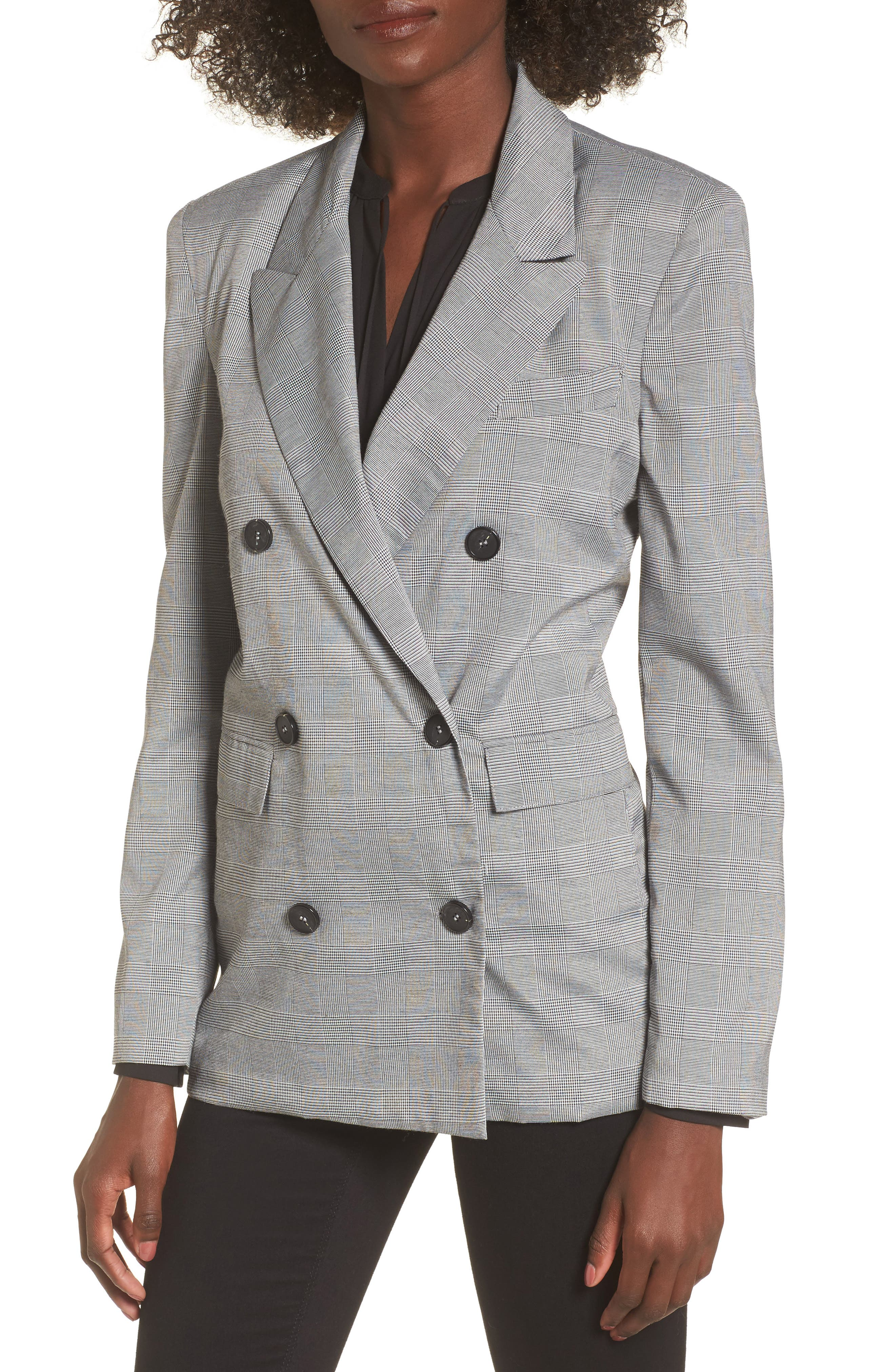 Double Breasted Blazer,                         Main,                         color, Black/ White