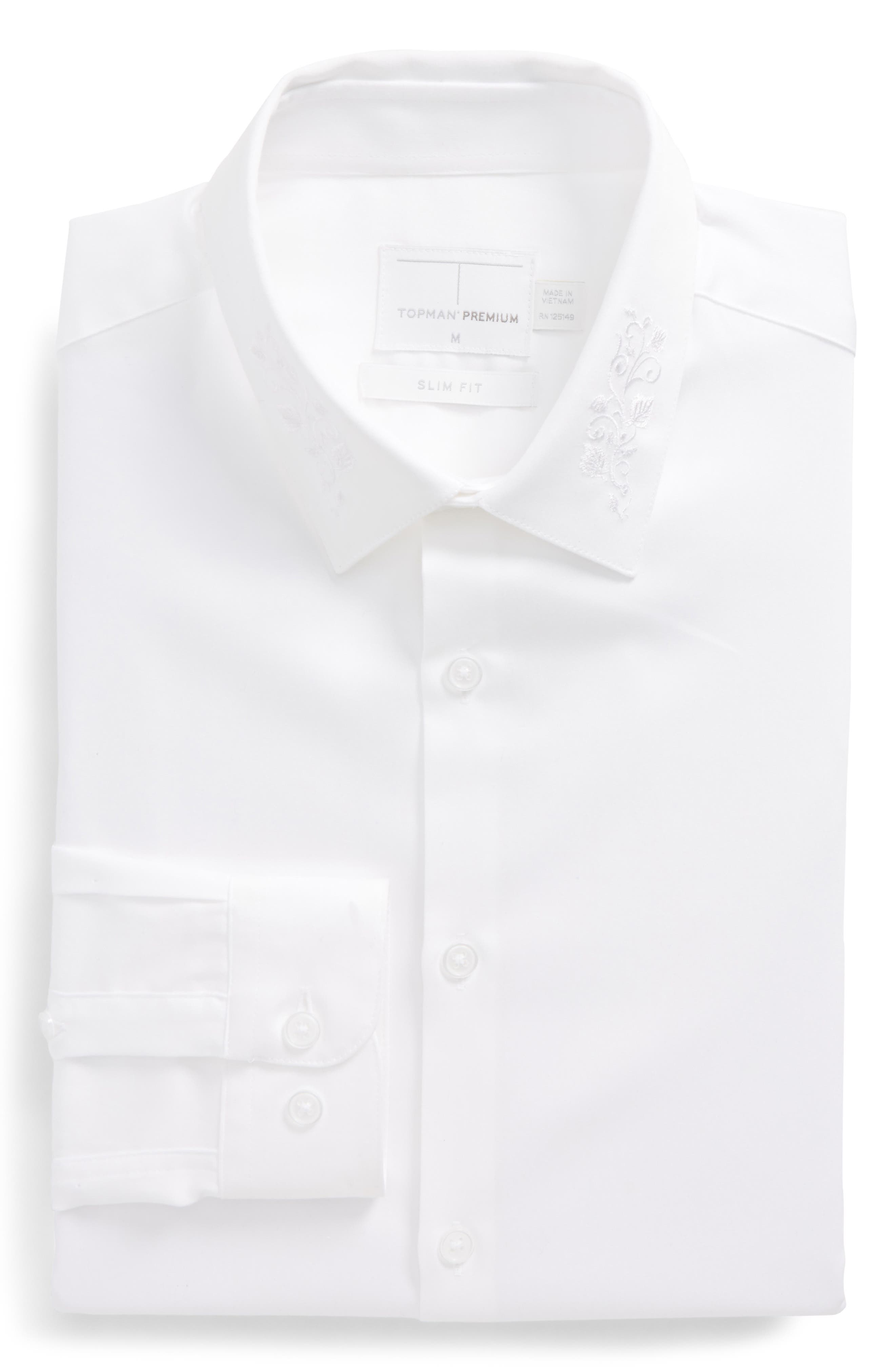 Slim Fit Embroidered Collar Dress Shirt,                         Main,                         color, White