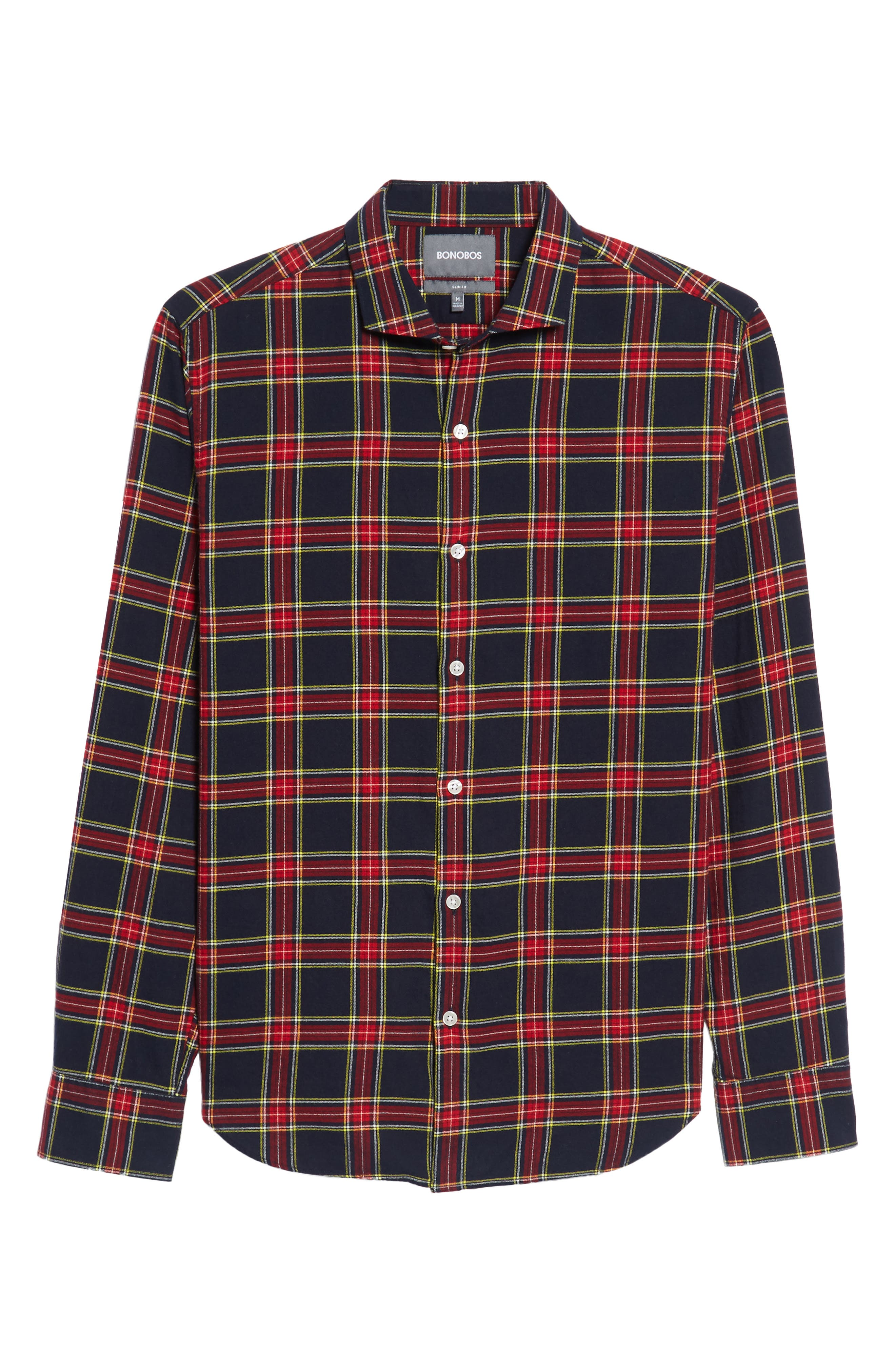 Unbutton Down Slim Fit Plaid Sport Shirt,                             Alternate thumbnail 6, color,                             Mohr Tartan/ Firecracker