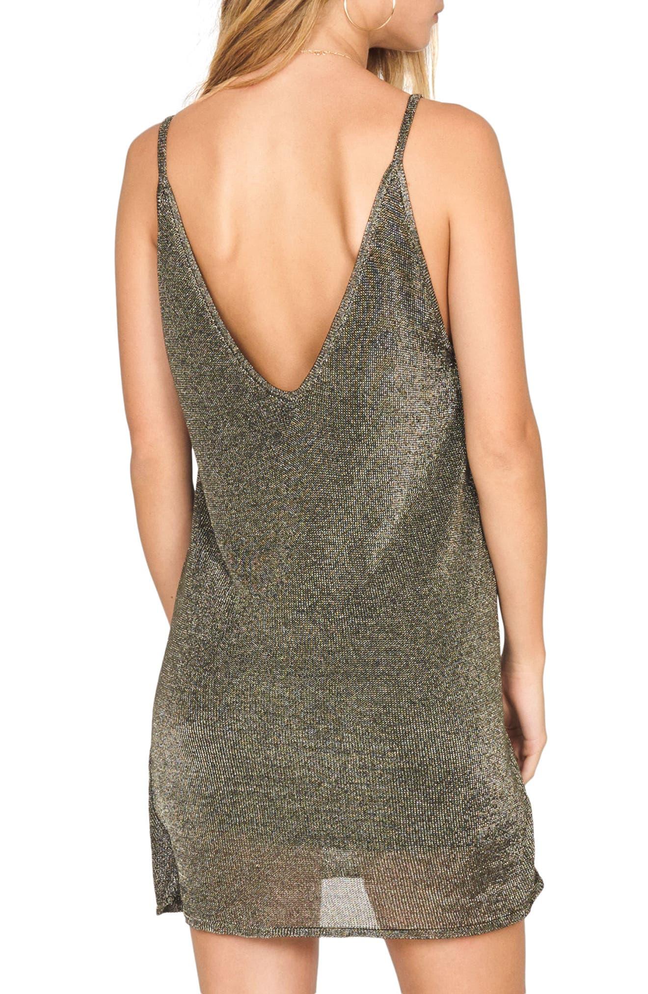 Ray of Light Metallic Knit Dress,                             Alternate thumbnail 3, color,                             Bronze