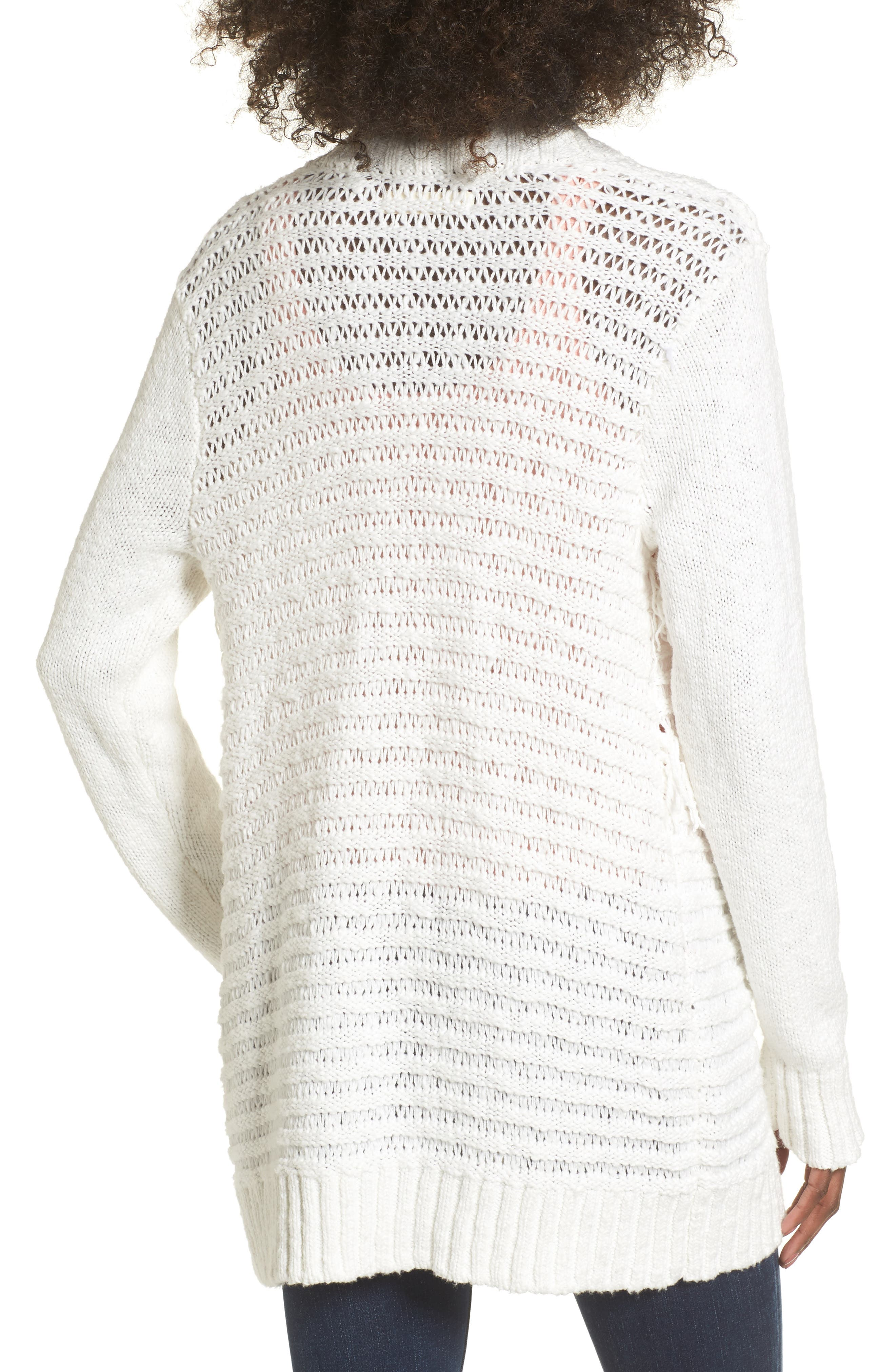 Open Cardigan,                             Alternate thumbnail 3, color,                             On The Prowl/ Ivory