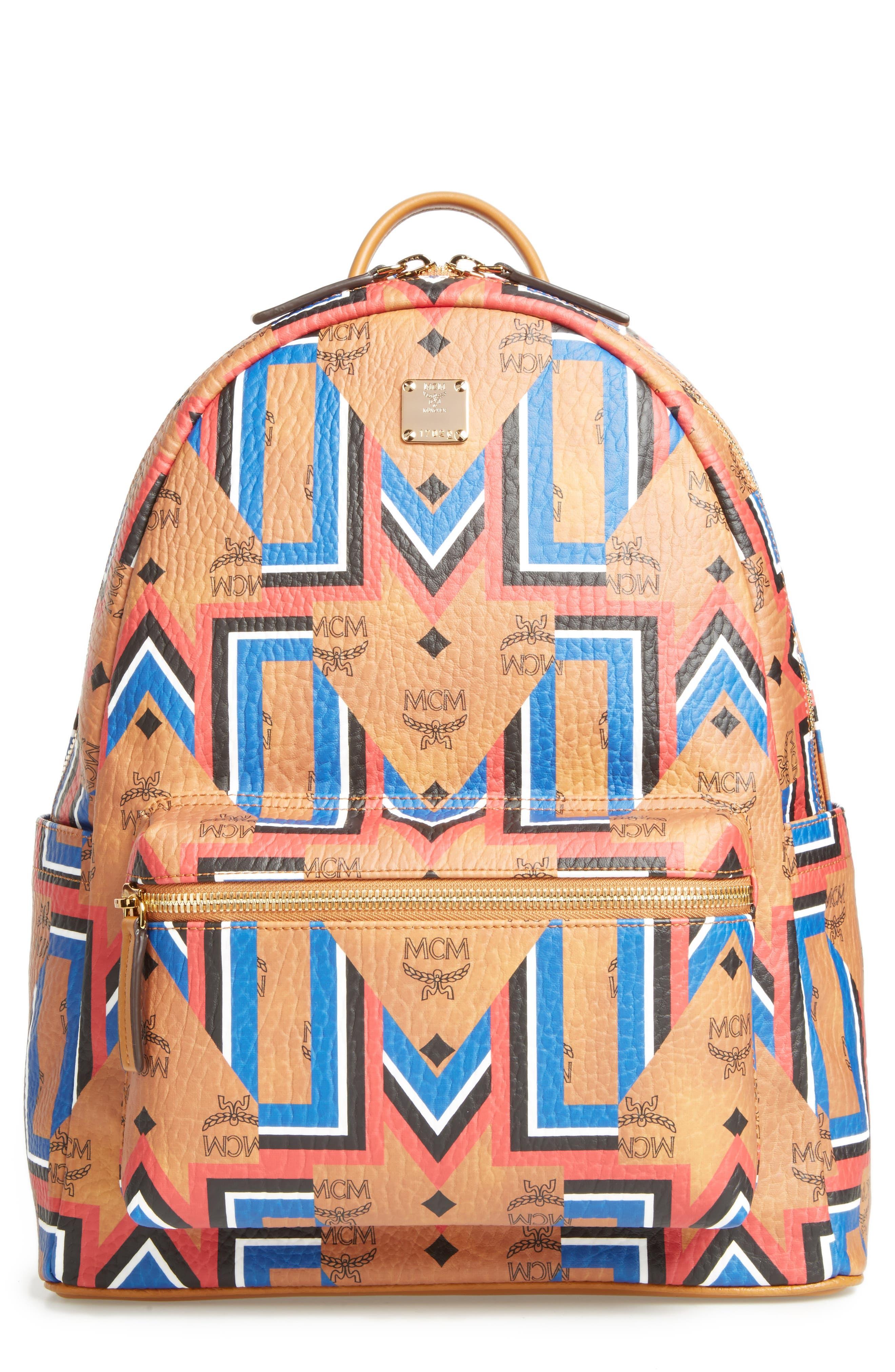 Stark Gunta Visetos Print Faux Leather Backpack,                             Main thumbnail 1, color,                             Cognac