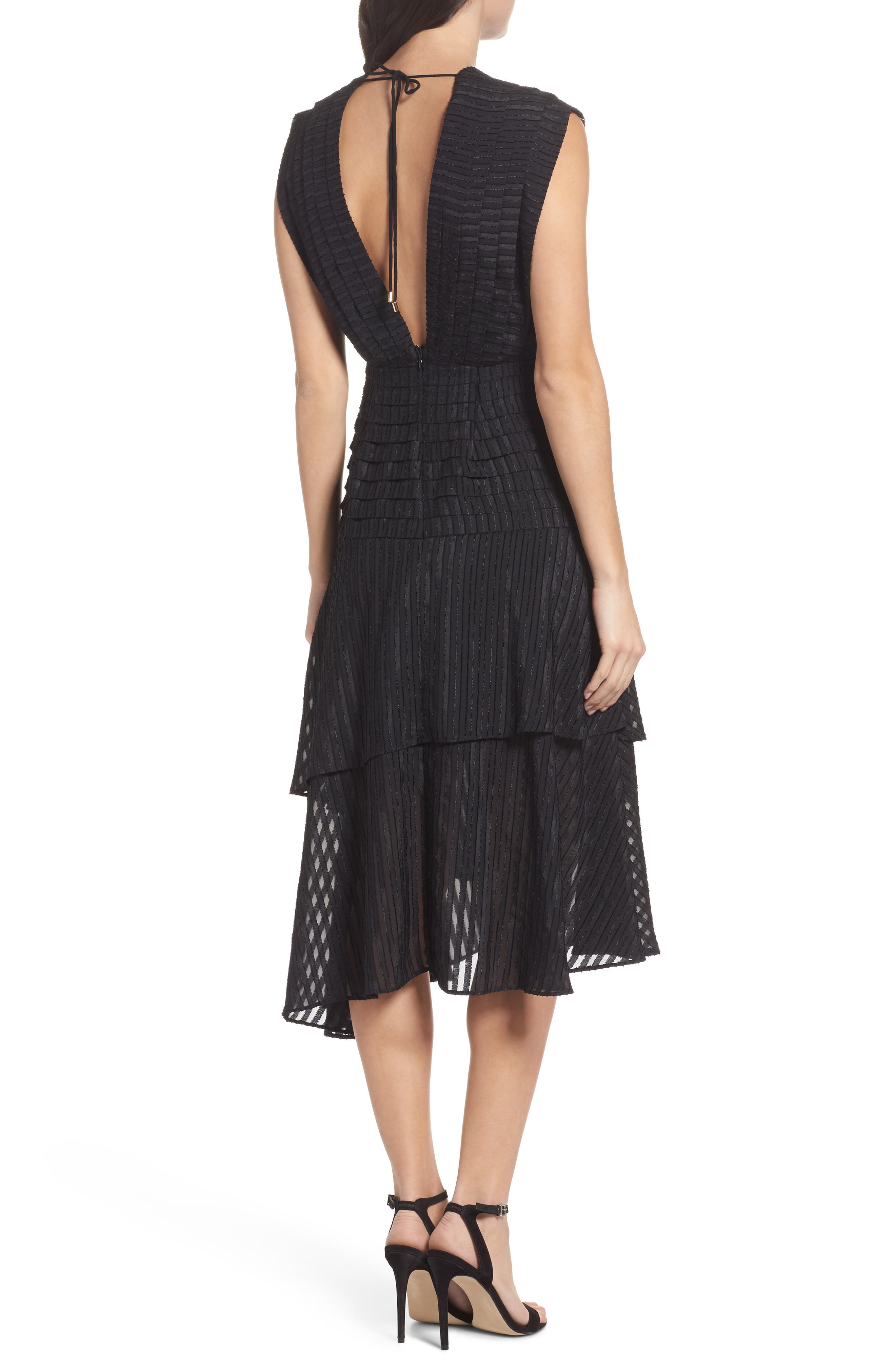 Waterfall Burnout Stripe Dress,                             Alternate thumbnail 3, color,                             Black
