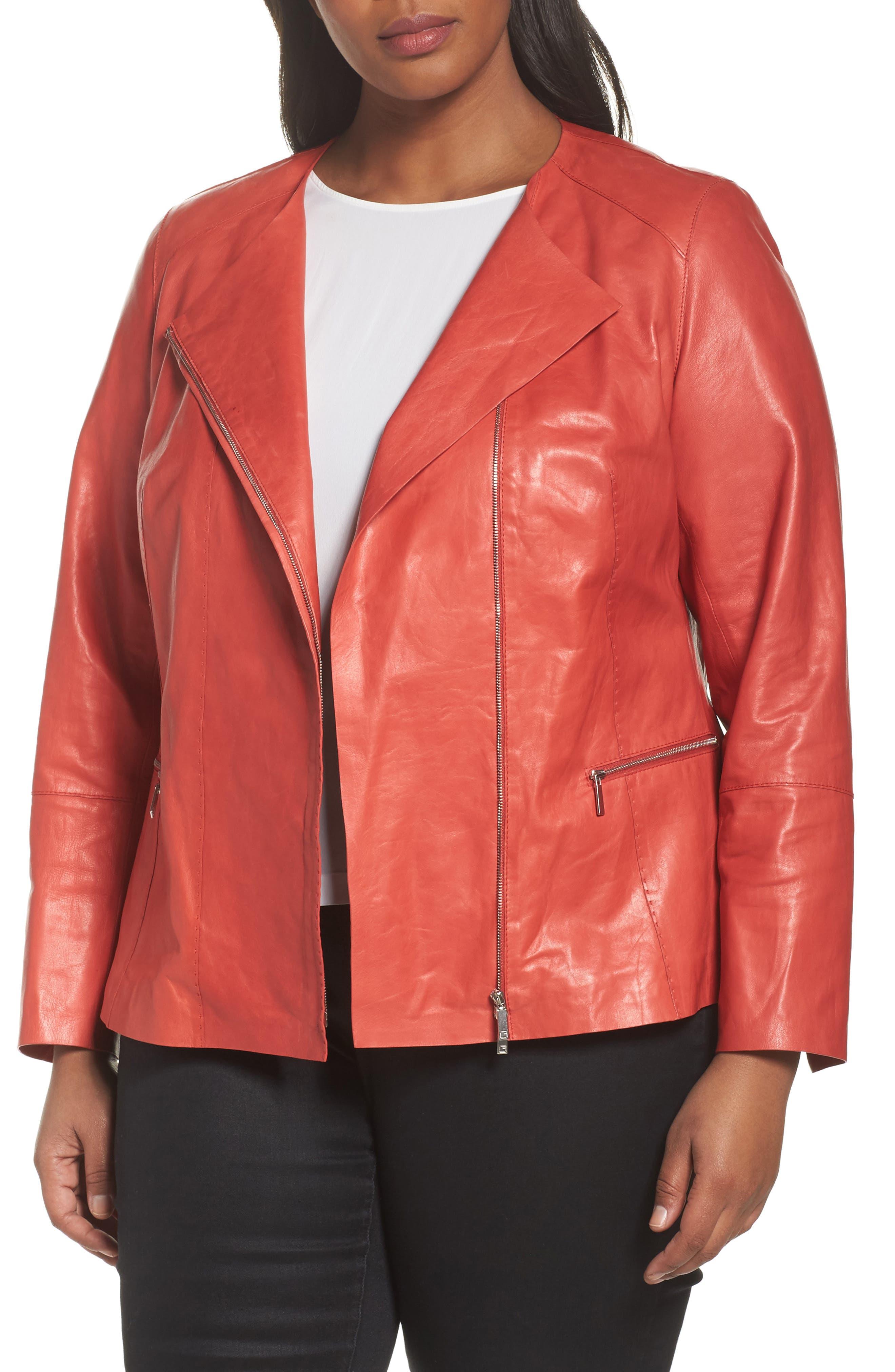 Main Image - Lafayette 148 New York Caridee Glazed Lambskin Leather Jacket (Plus Size)