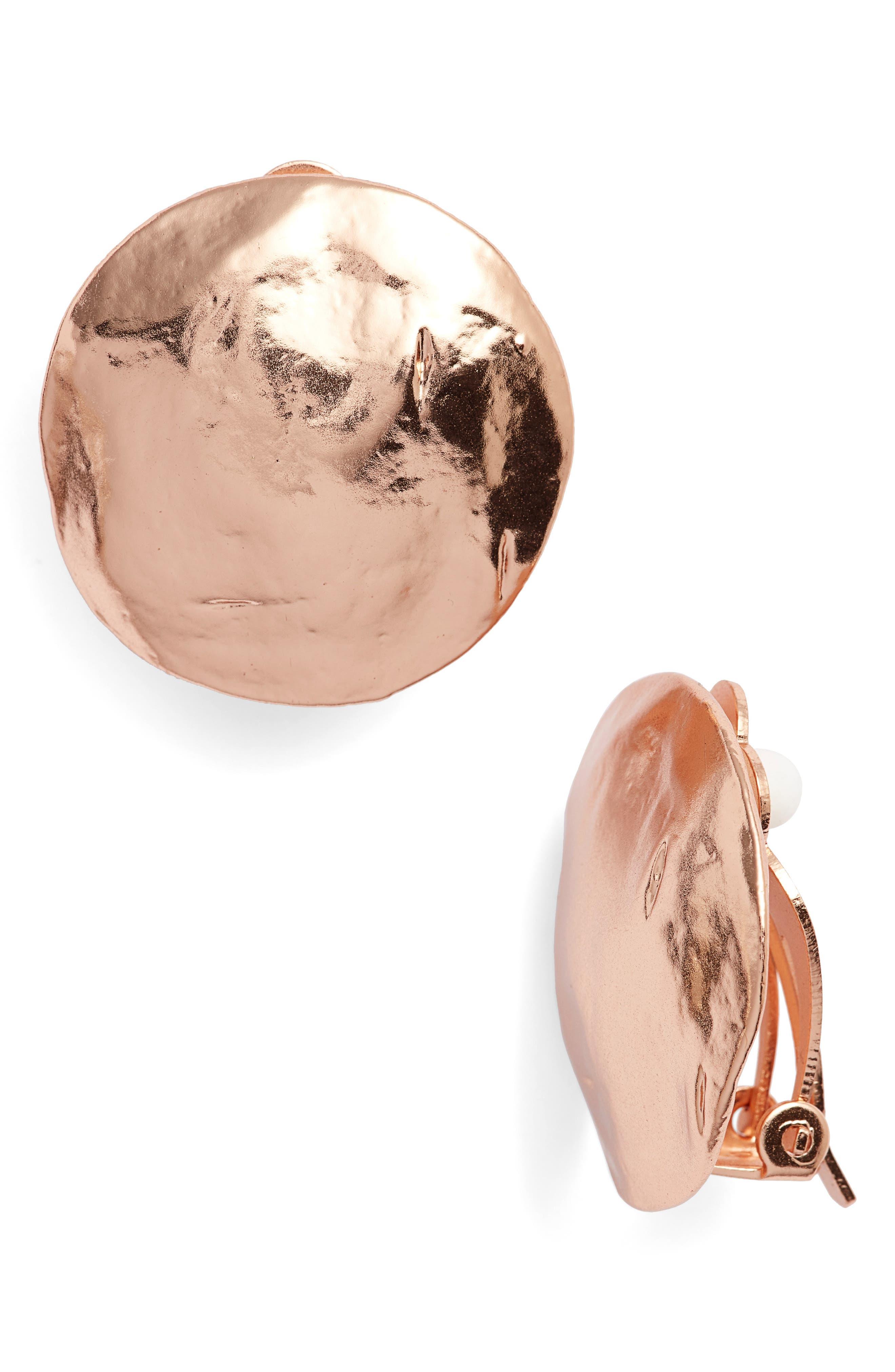 Eva Shell Disc Clip-On Earrings,                             Main thumbnail 1, color,                             Rose Gold