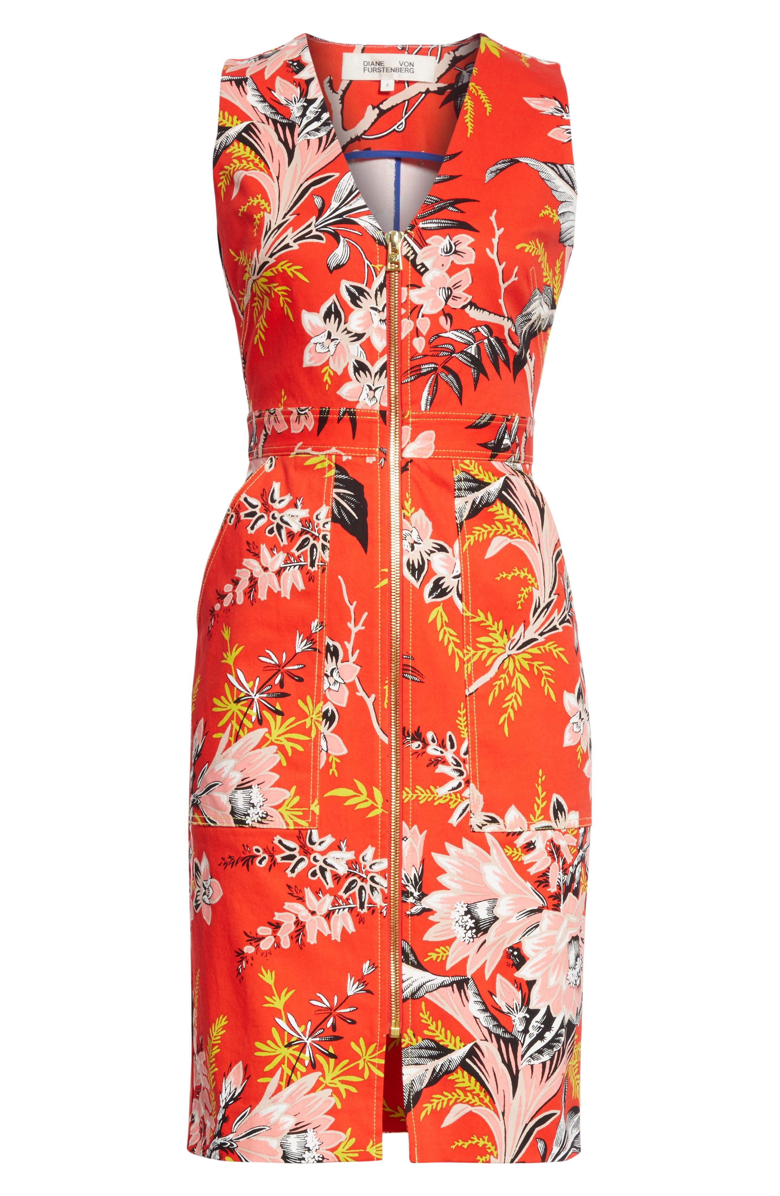 Diane von Furstenberg Floral Zip Front Stretch Cotton Sheath Dress,                             Alternate thumbnail 6, color,                             Avalon Poppy