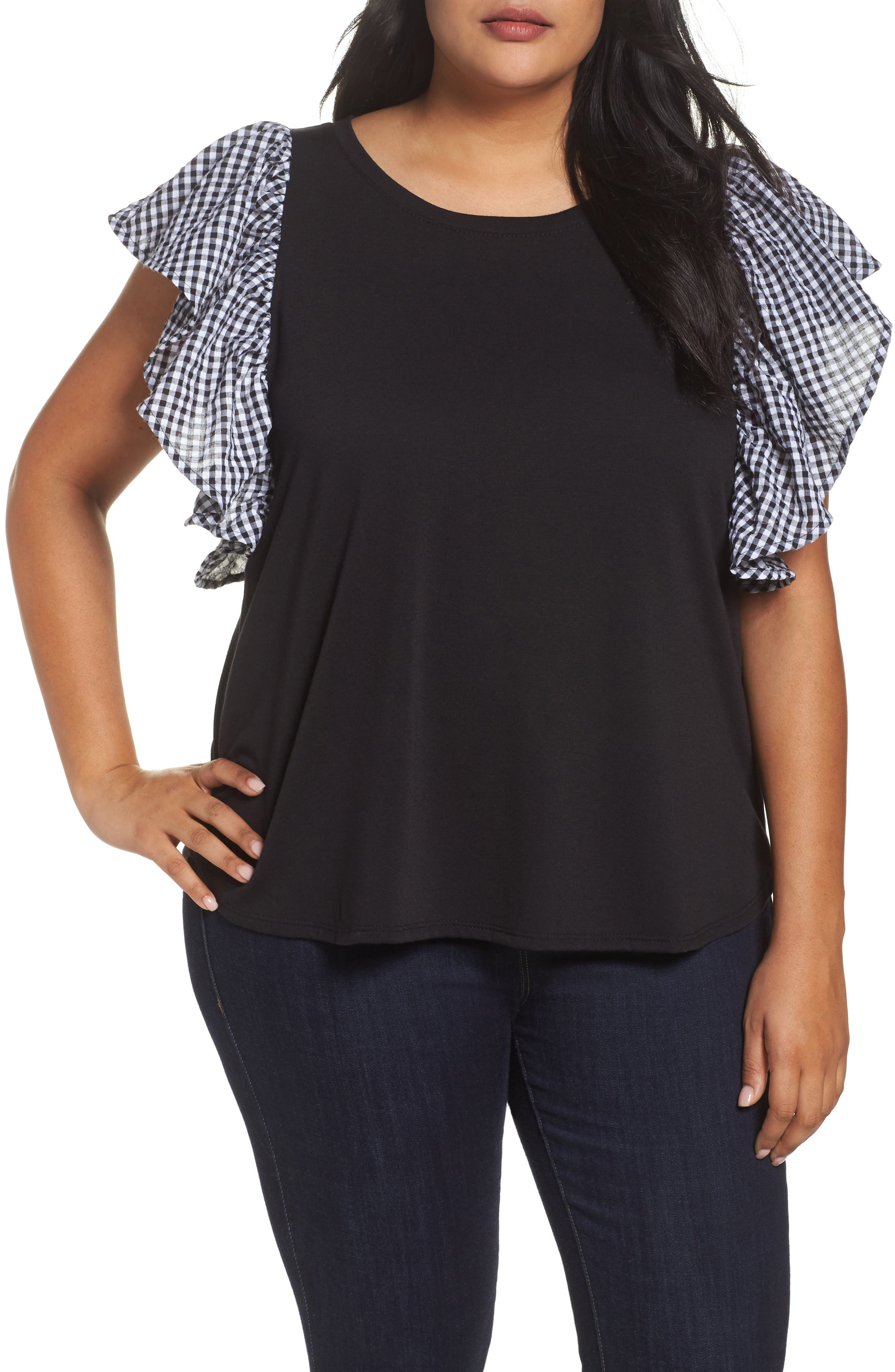 Sejour Gingham Ruffle Sleeve Tee (Plus Size)