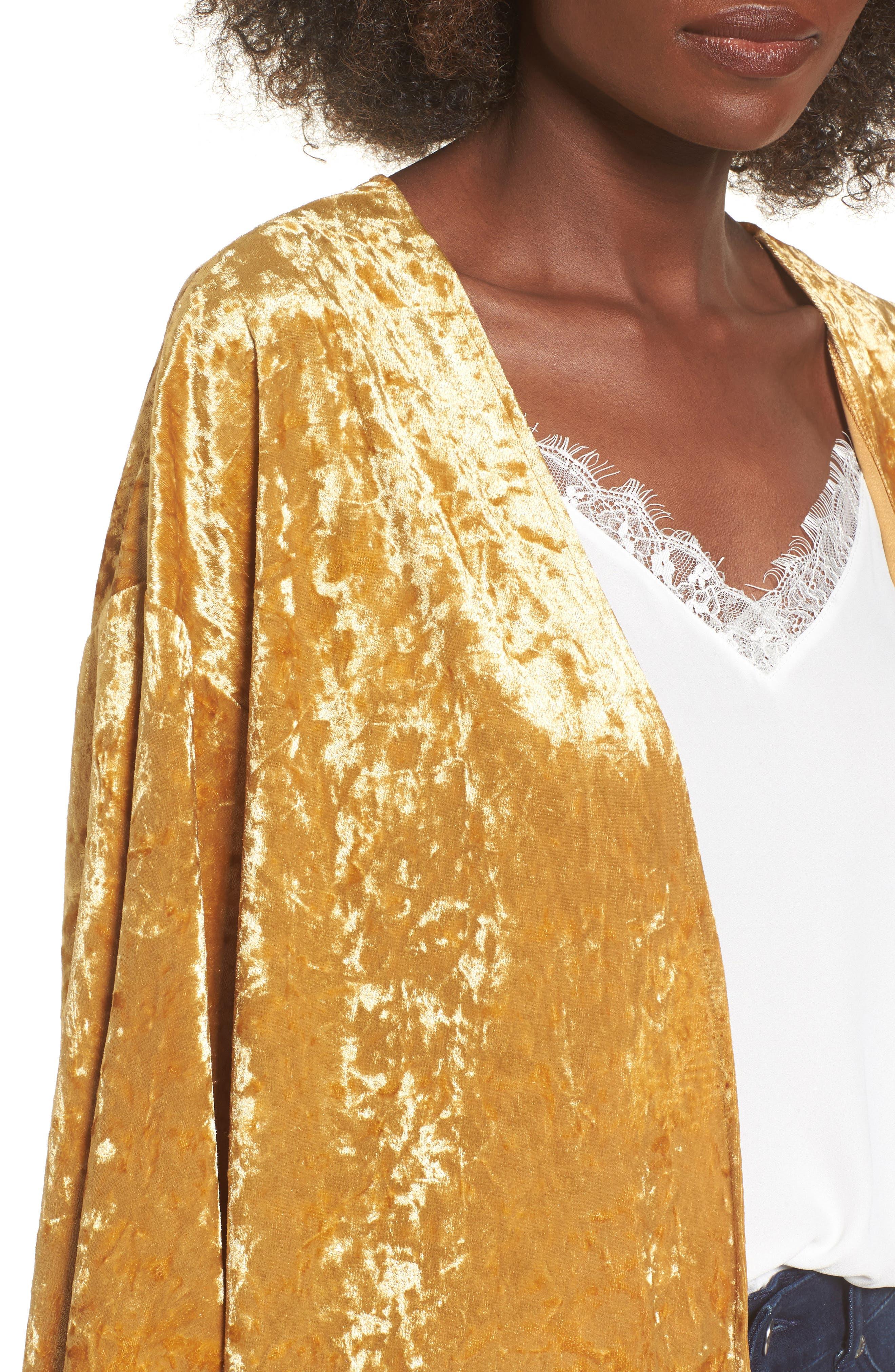 Crushed Velvet Open Cardigan,                             Alternate thumbnail 4, color,                             Golden Yellow