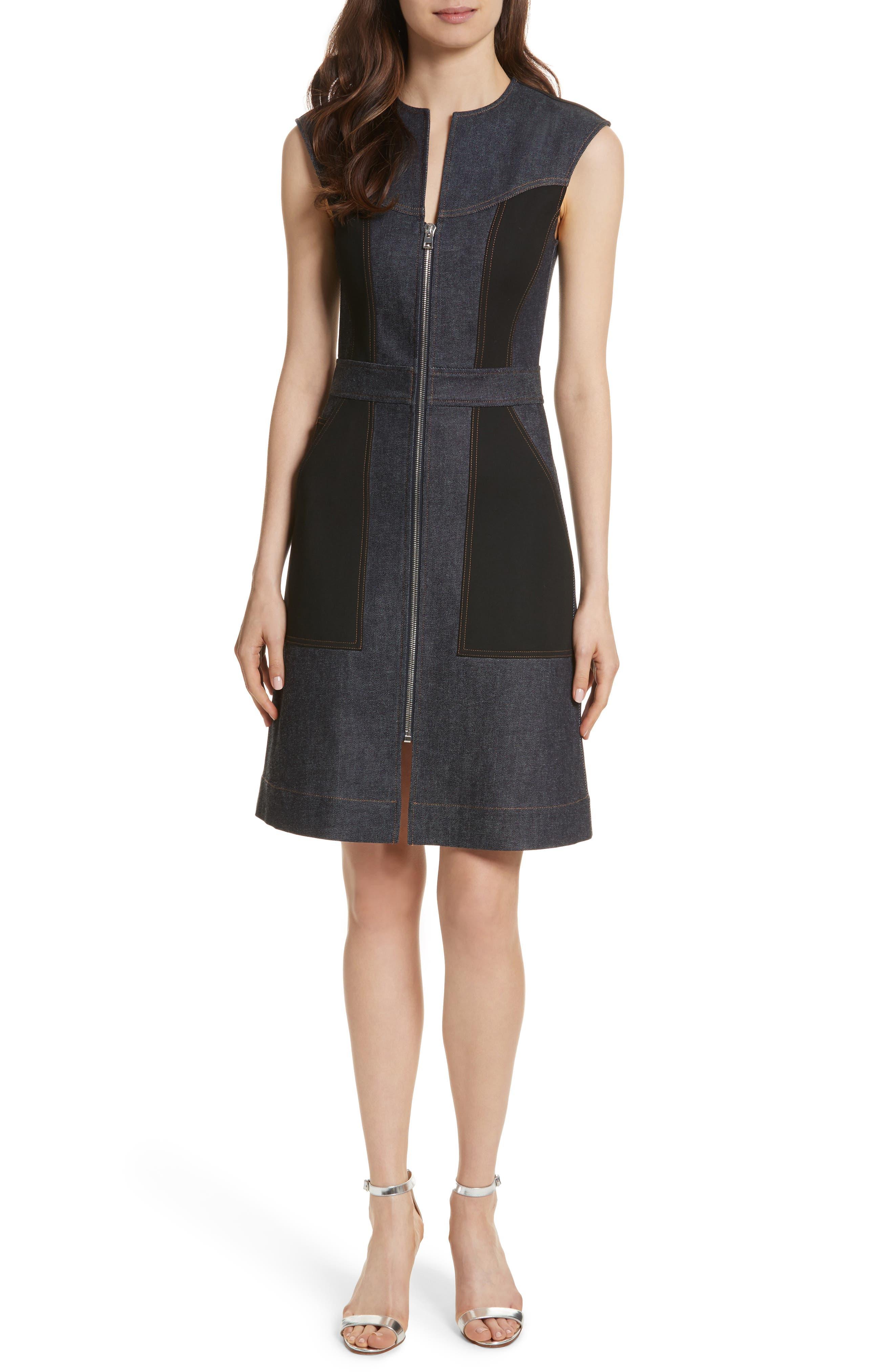 Diane von Furstenberg Front Zip Denim Dress,                             Main thumbnail 1, color,                             Indigo/ Black