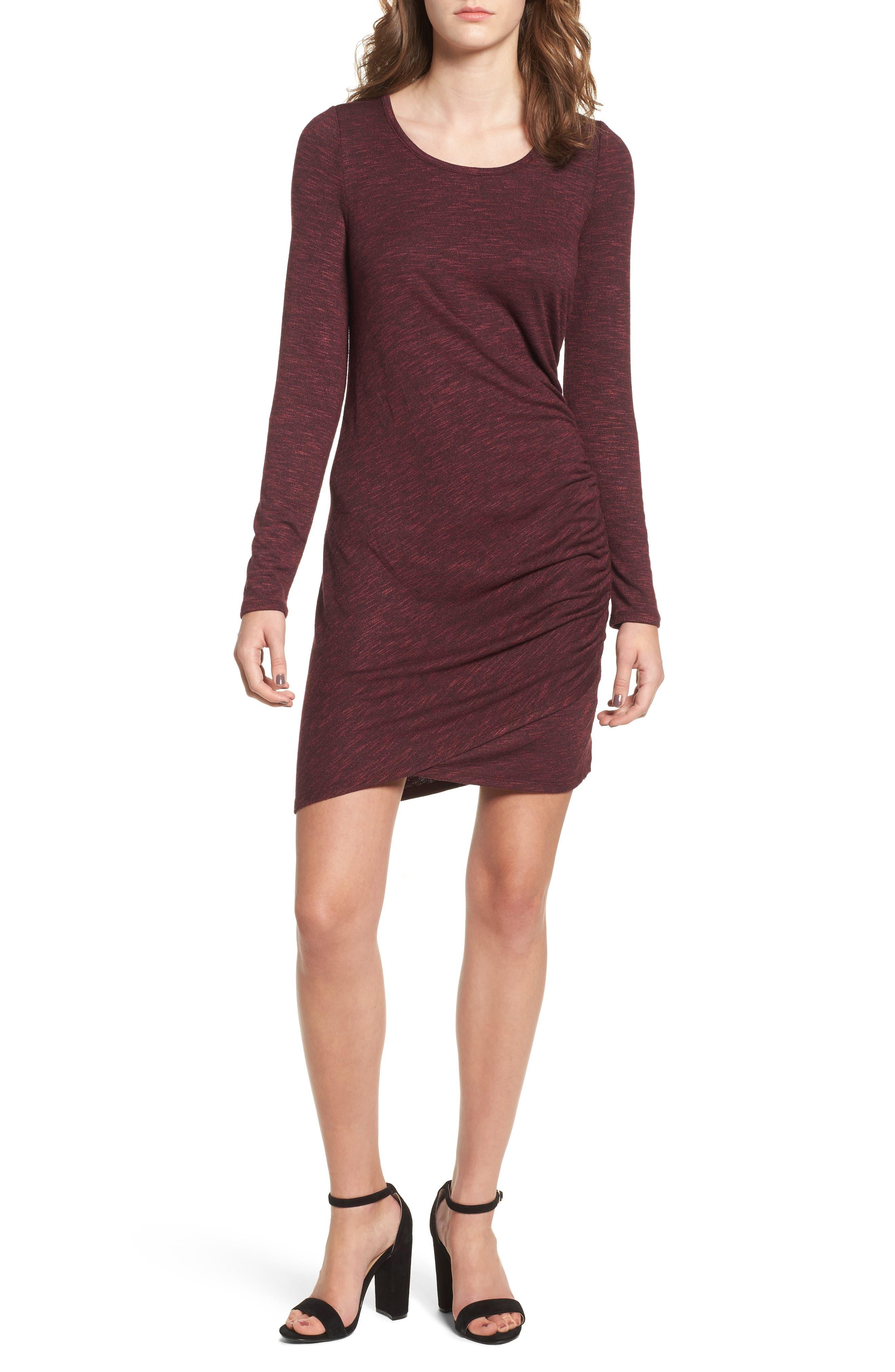 Ruched Knit Dress,                             Main thumbnail 1, color,                             Zinfandel