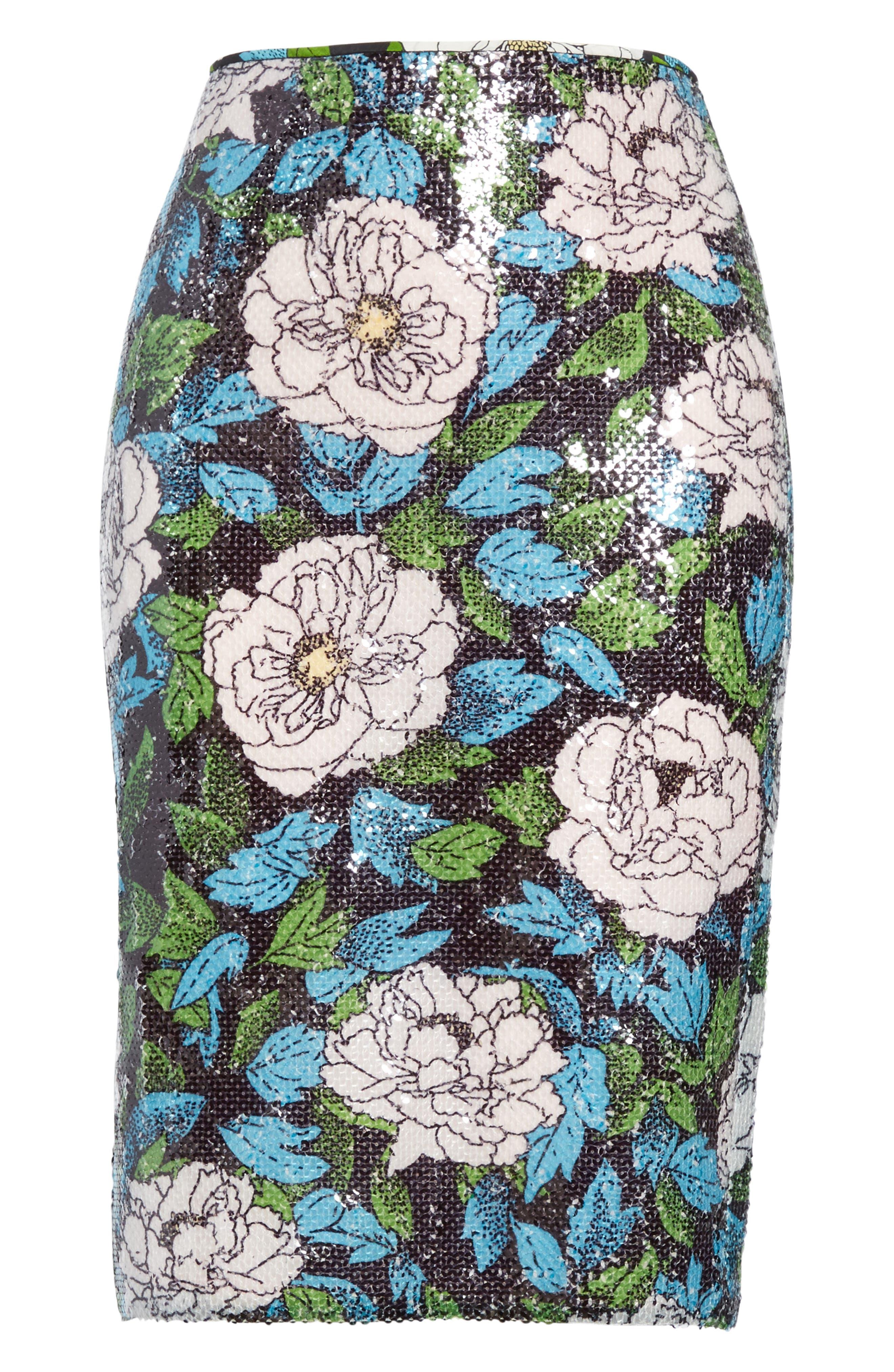 Diane von Furstenberg Sequin Pencil Skirt,                             Alternate thumbnail 6, color,                             Boswell Ivory