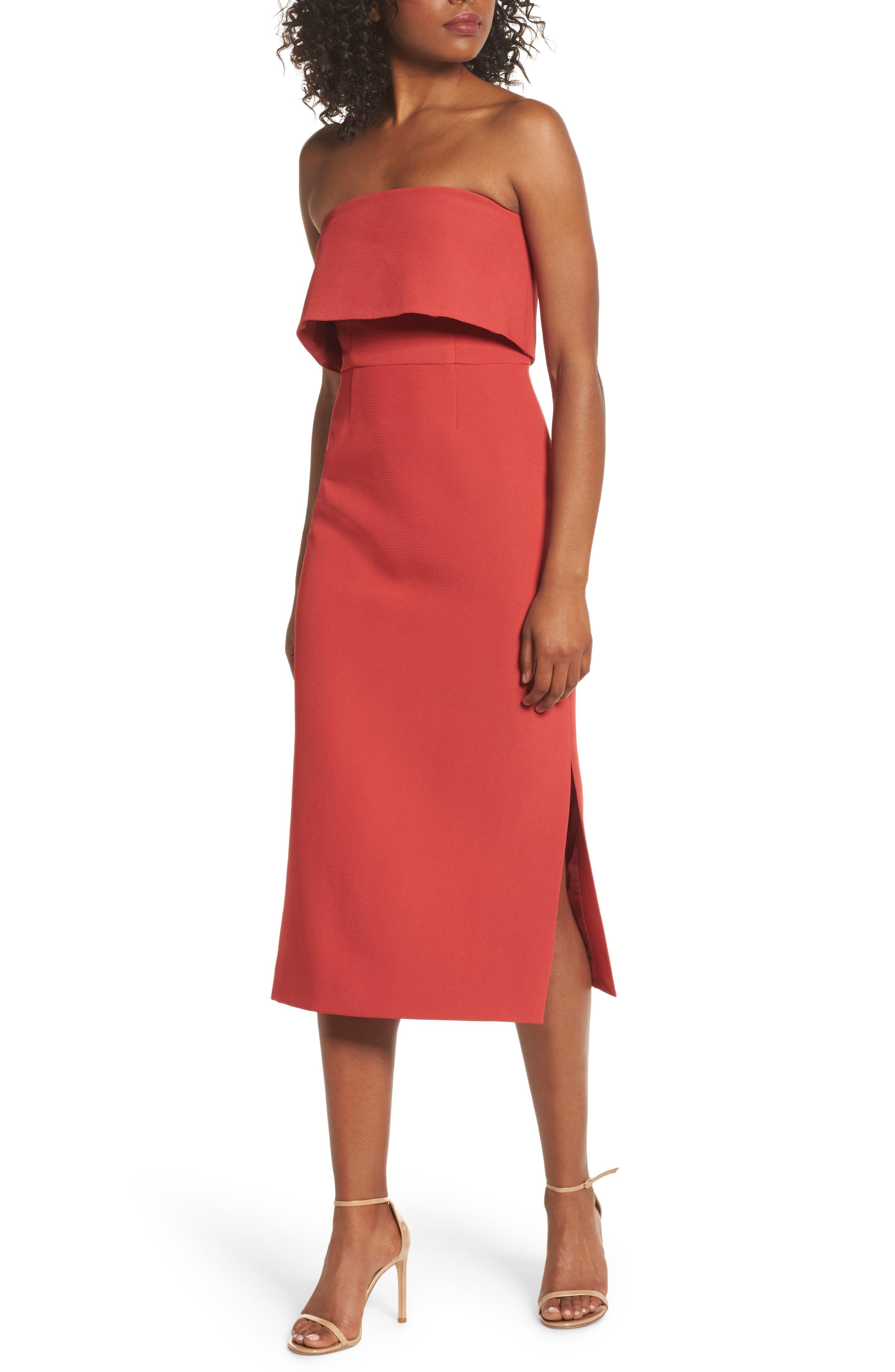 Infinite Strapless Dress,                         Main,                         color, Rust