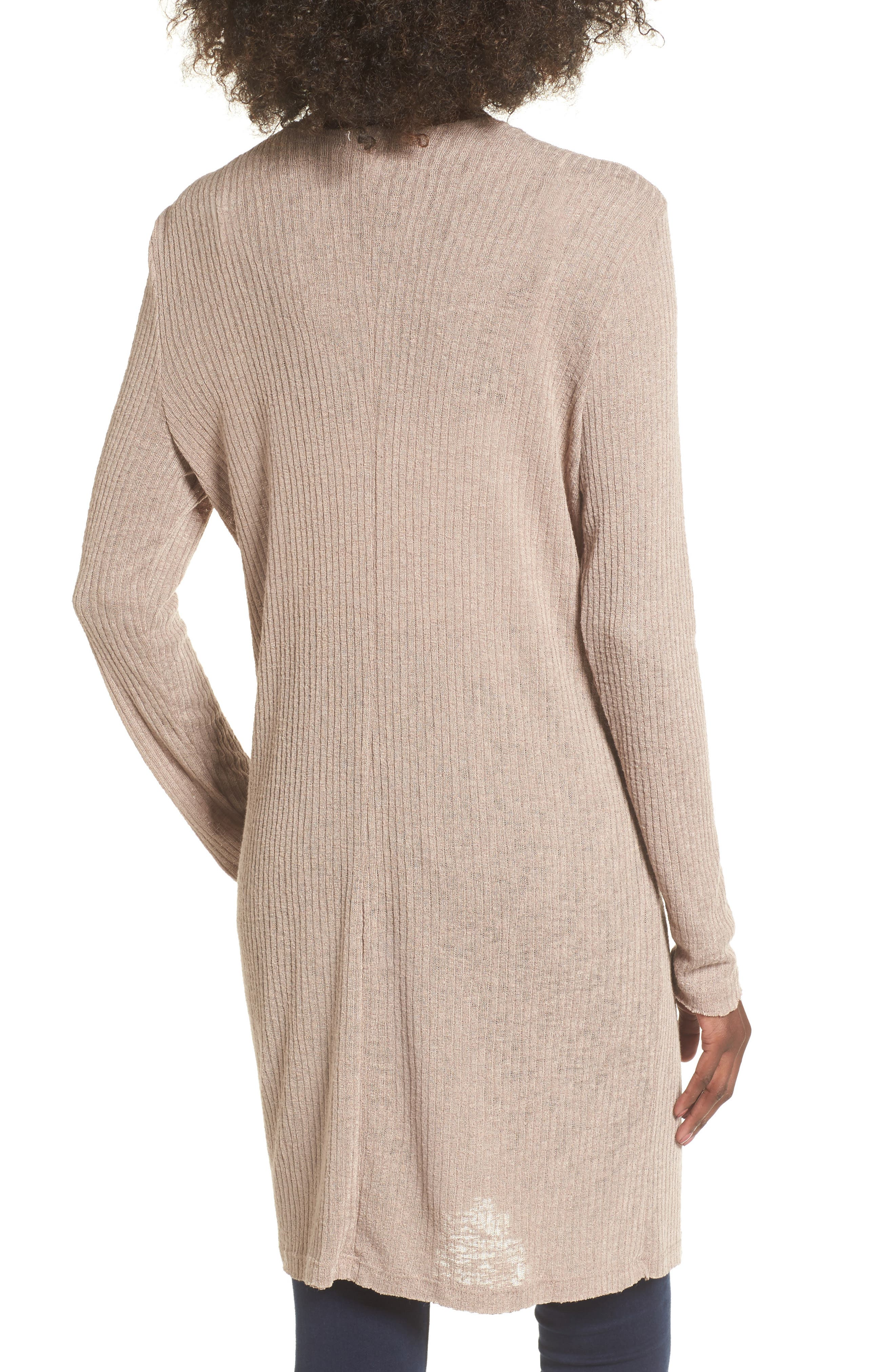 Ribbed Knit Cardigan,                             Alternate thumbnail 2, color,                             Beige Morn