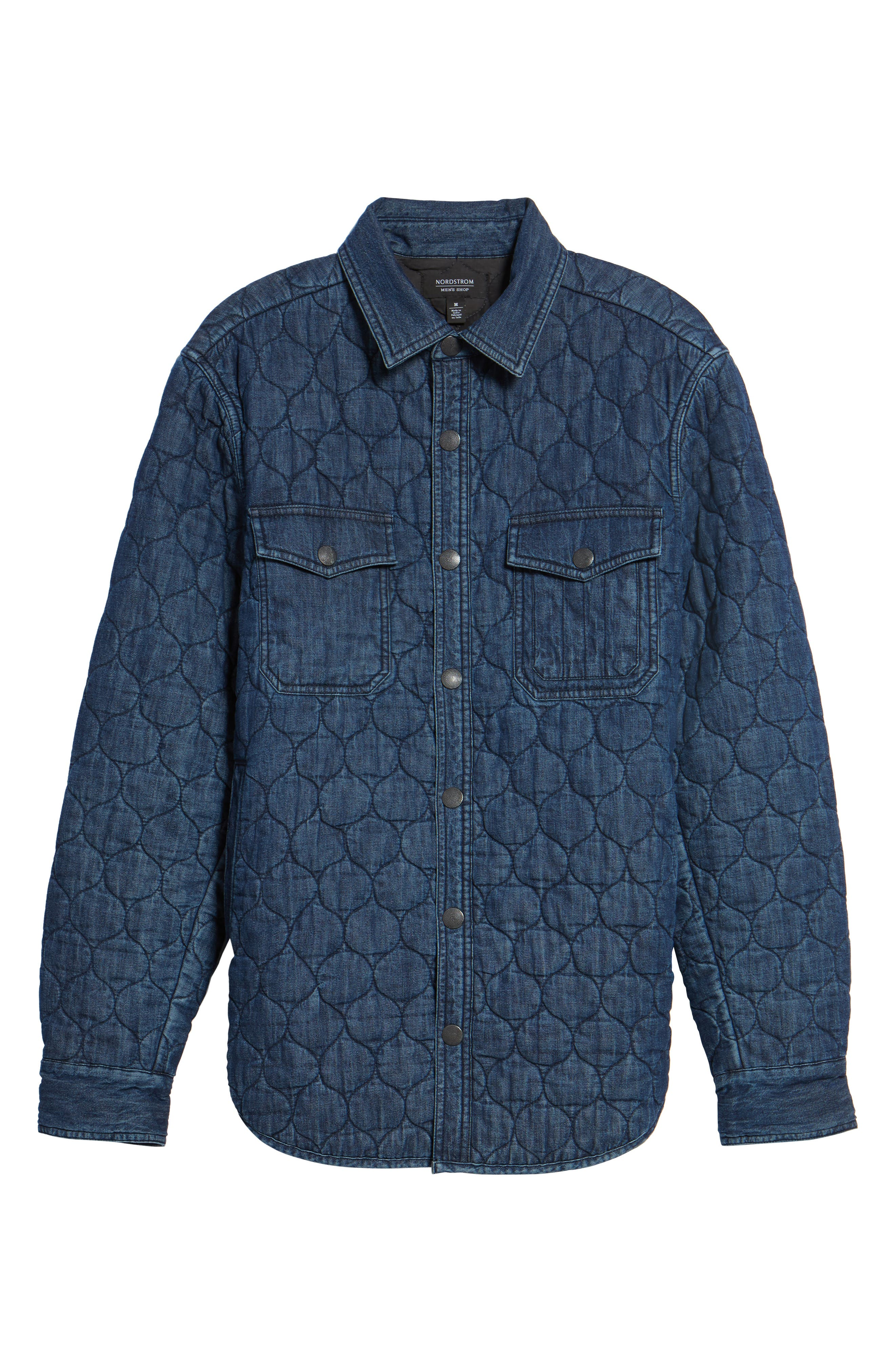 Quilted Denim Shirt Jacket,                             Alternate thumbnail 6, color,                             Navy Iris Indigo