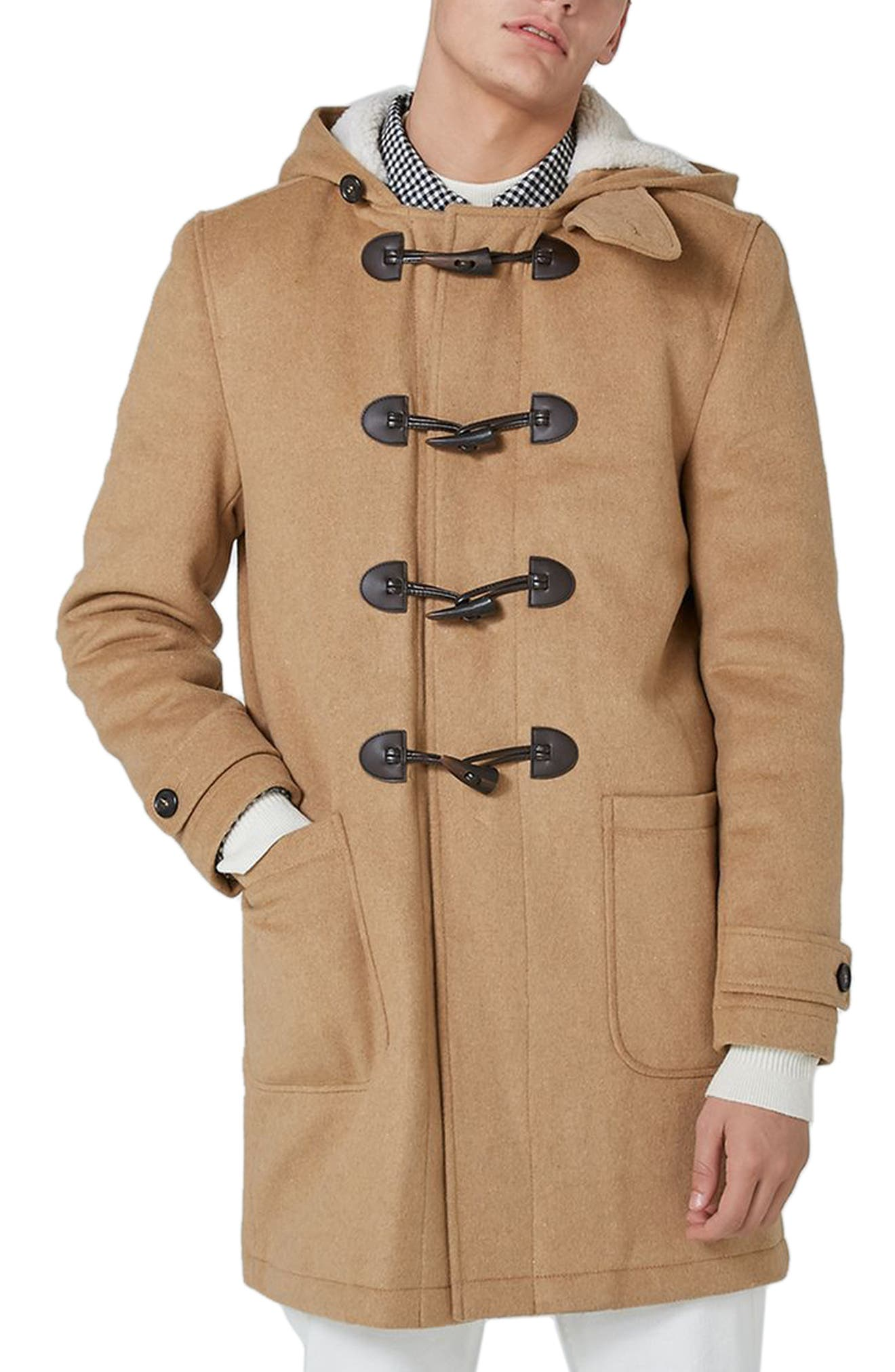 Borg Lined Duffle Coat,                         Main,                         color, Light Brown