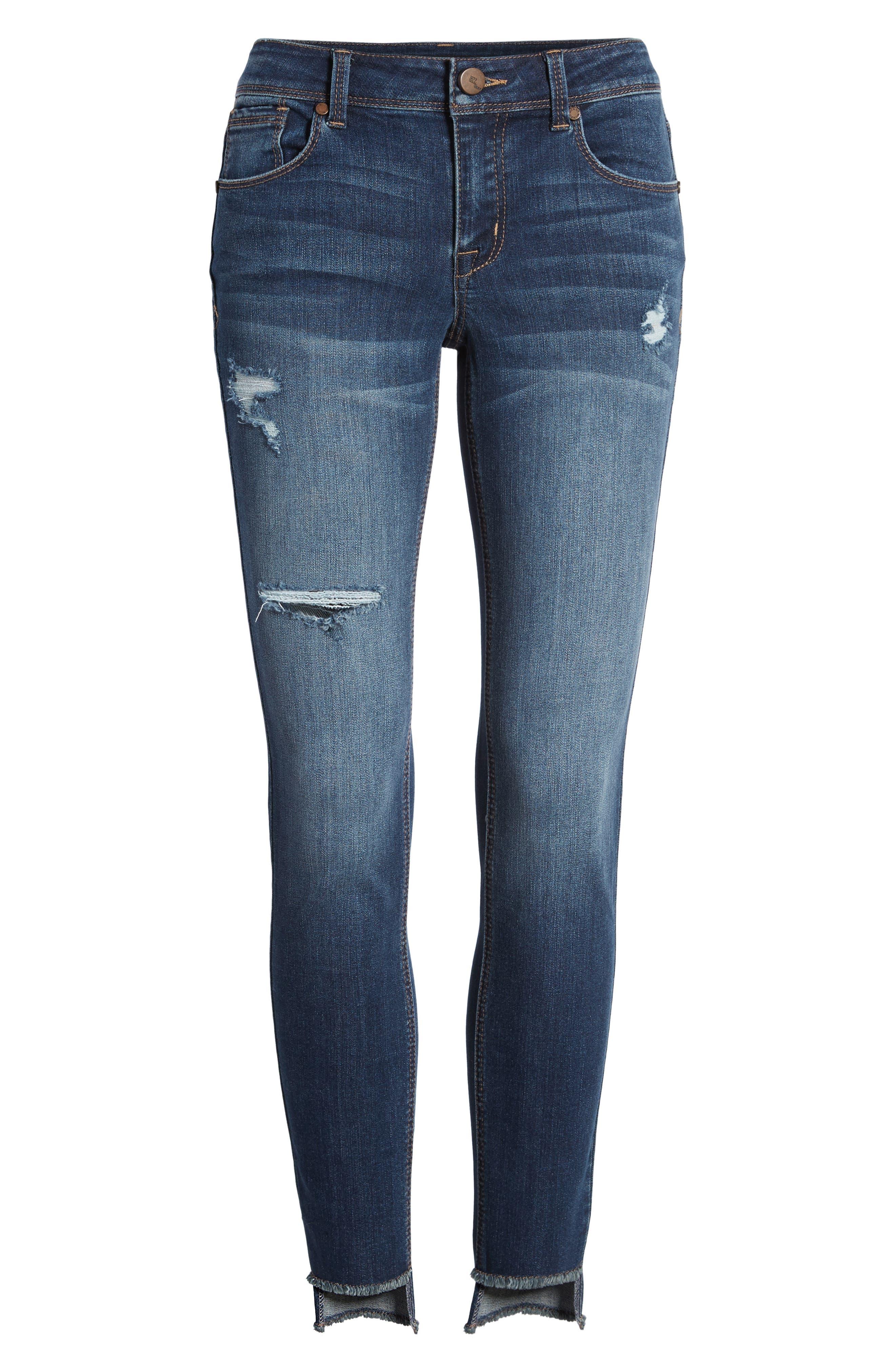 Alternate Image 7  - 1822 Denim Step Hem Skinny Jeans (Eleni)