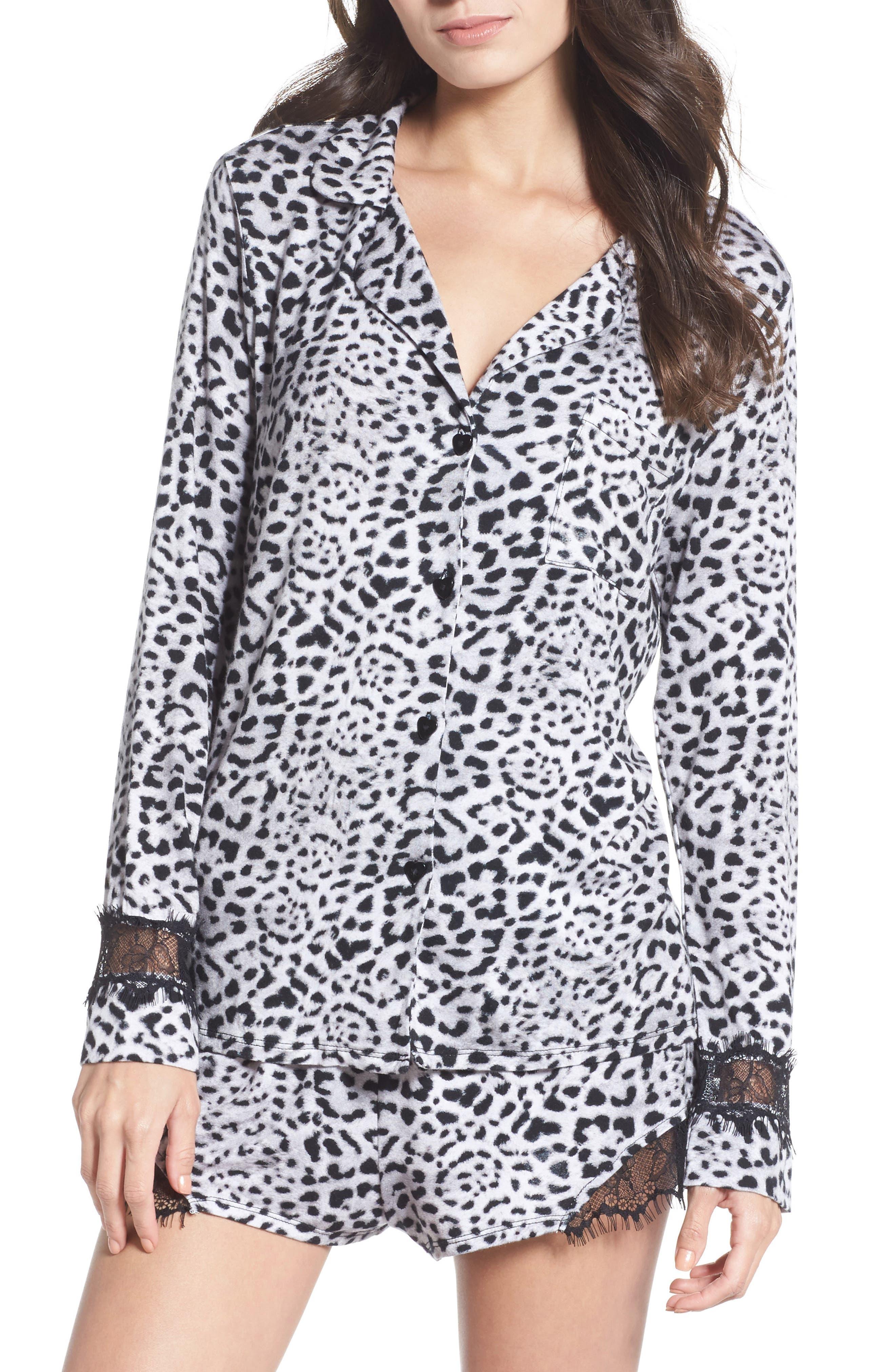 Notch Collar Short Pajamas,                             Main thumbnail 1, color,                             Silky Leopard Grey