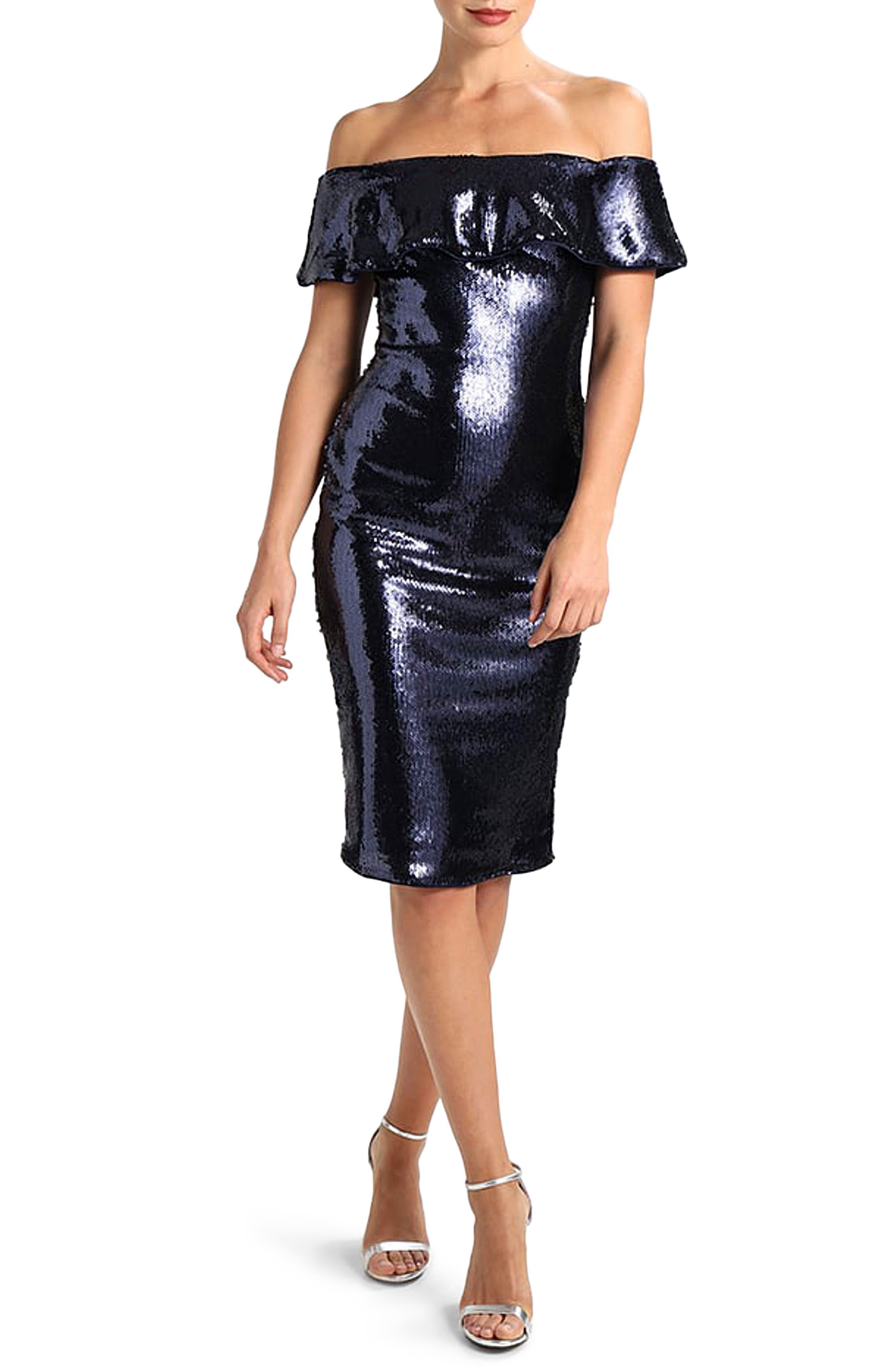 TFNC Ibiza Sequin Off the Shoulder Dress