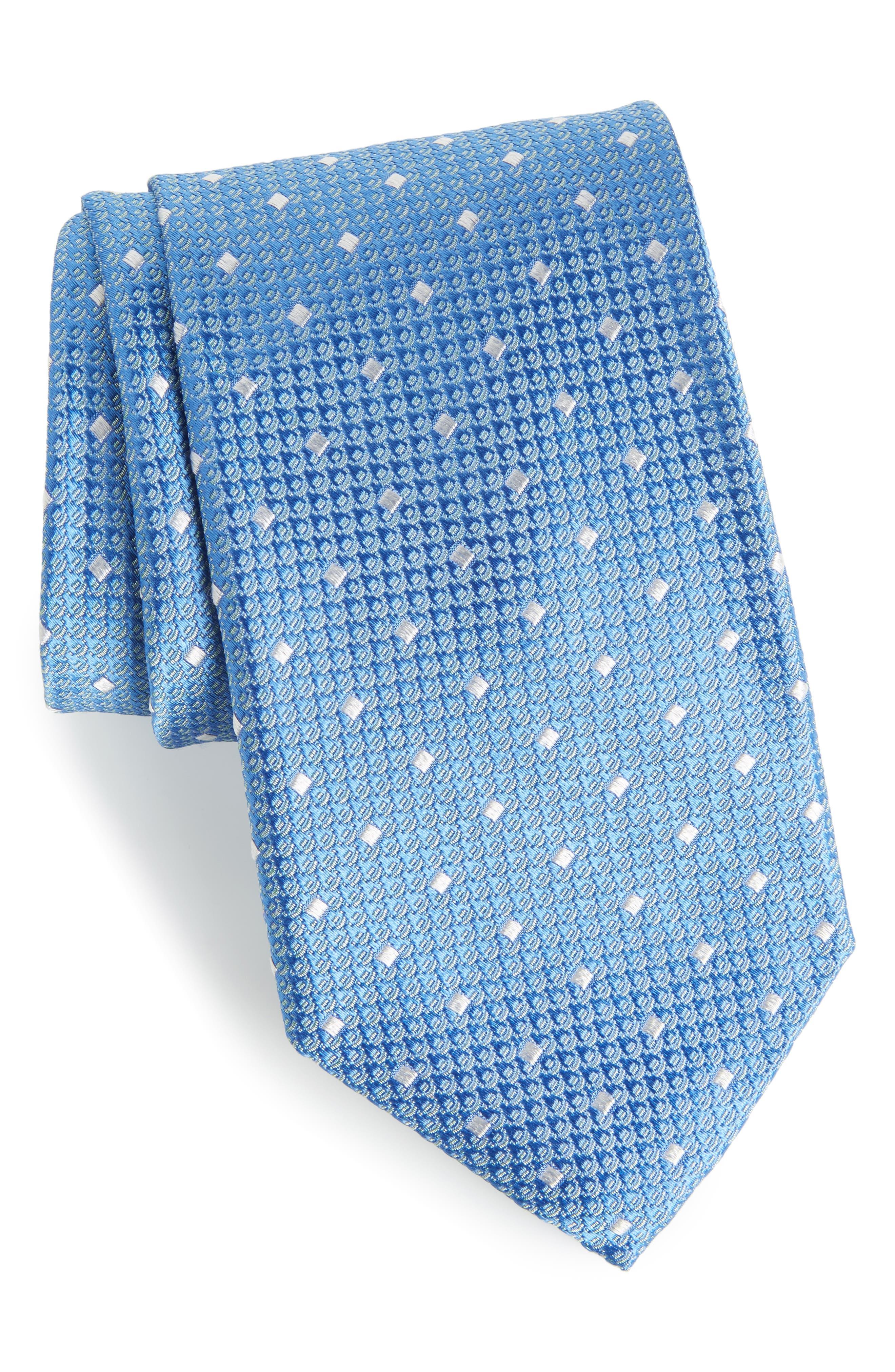 Contrada Dot Silk Tie,                         Main,                         color, Light Blue