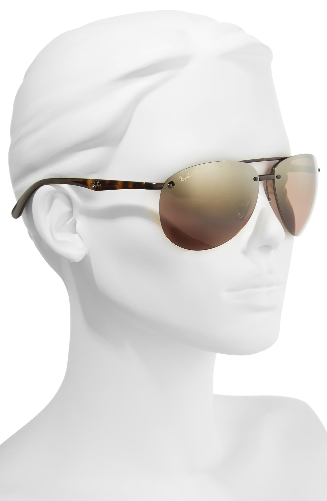 65mm Gradient Aviator Sunglasses,                             Alternate thumbnail 2, color,                             Havana