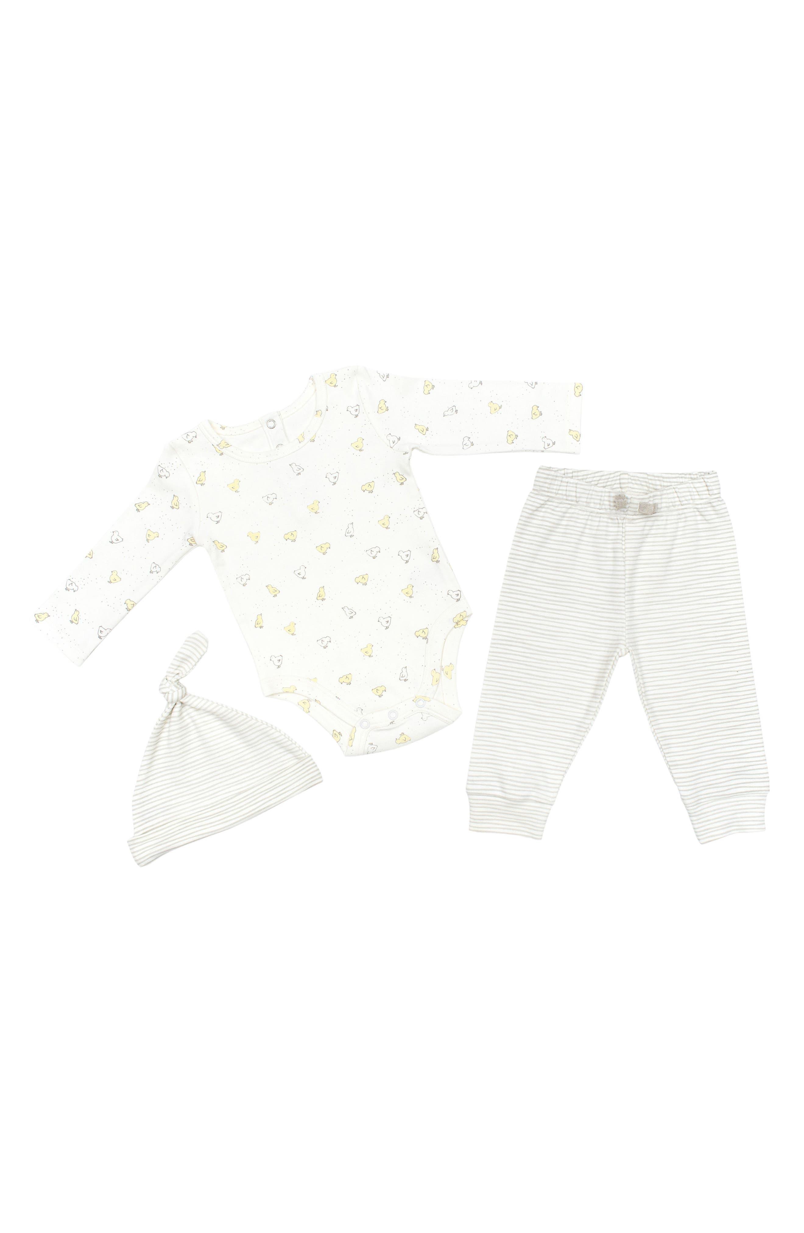 Petit Pehr Baby Chick Bodysuit, Pants & Hat Set (Baby)