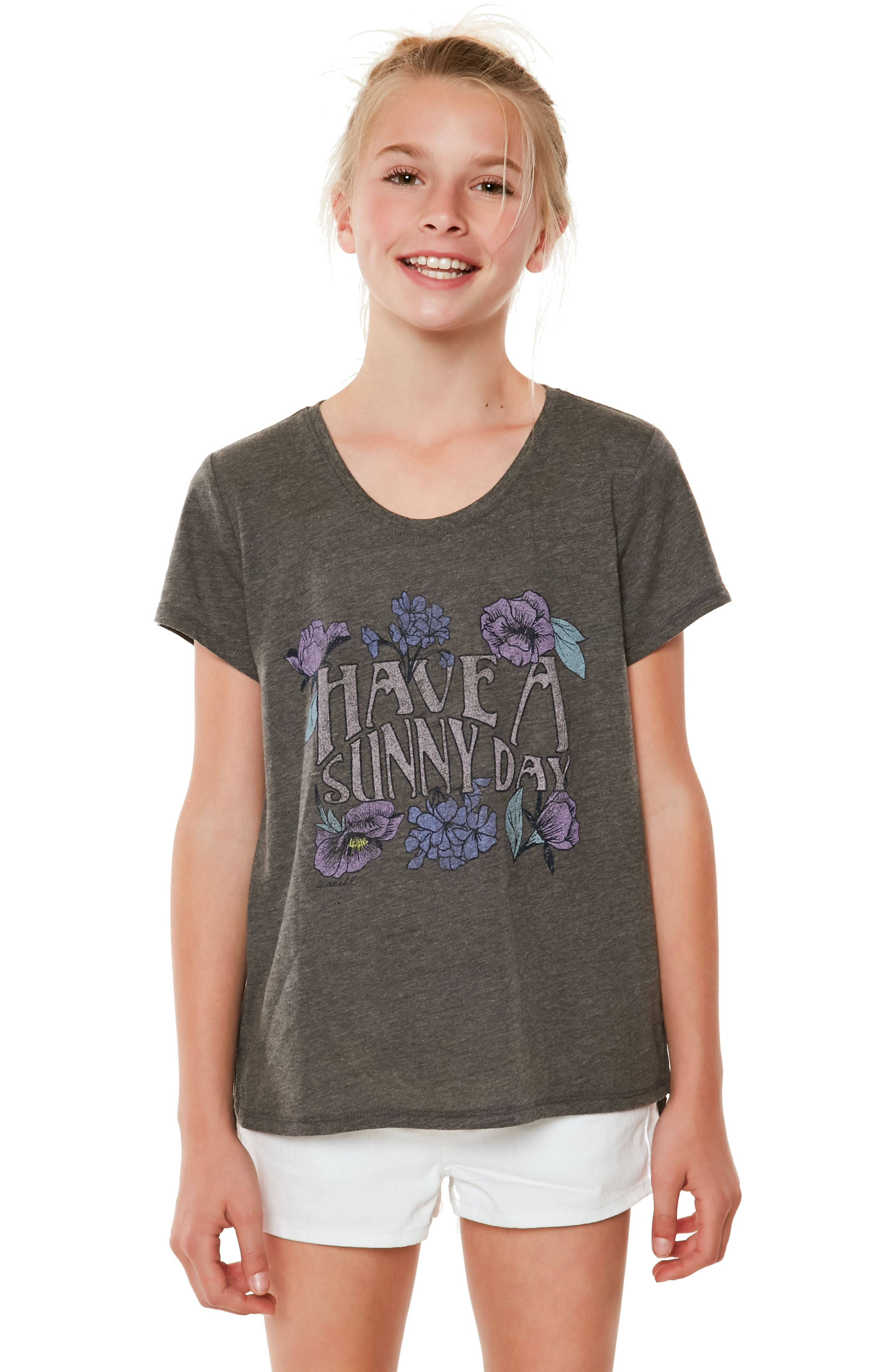 Sunny Day Graphic Tee,                         Main,                         color, Heather Grey - Hgr