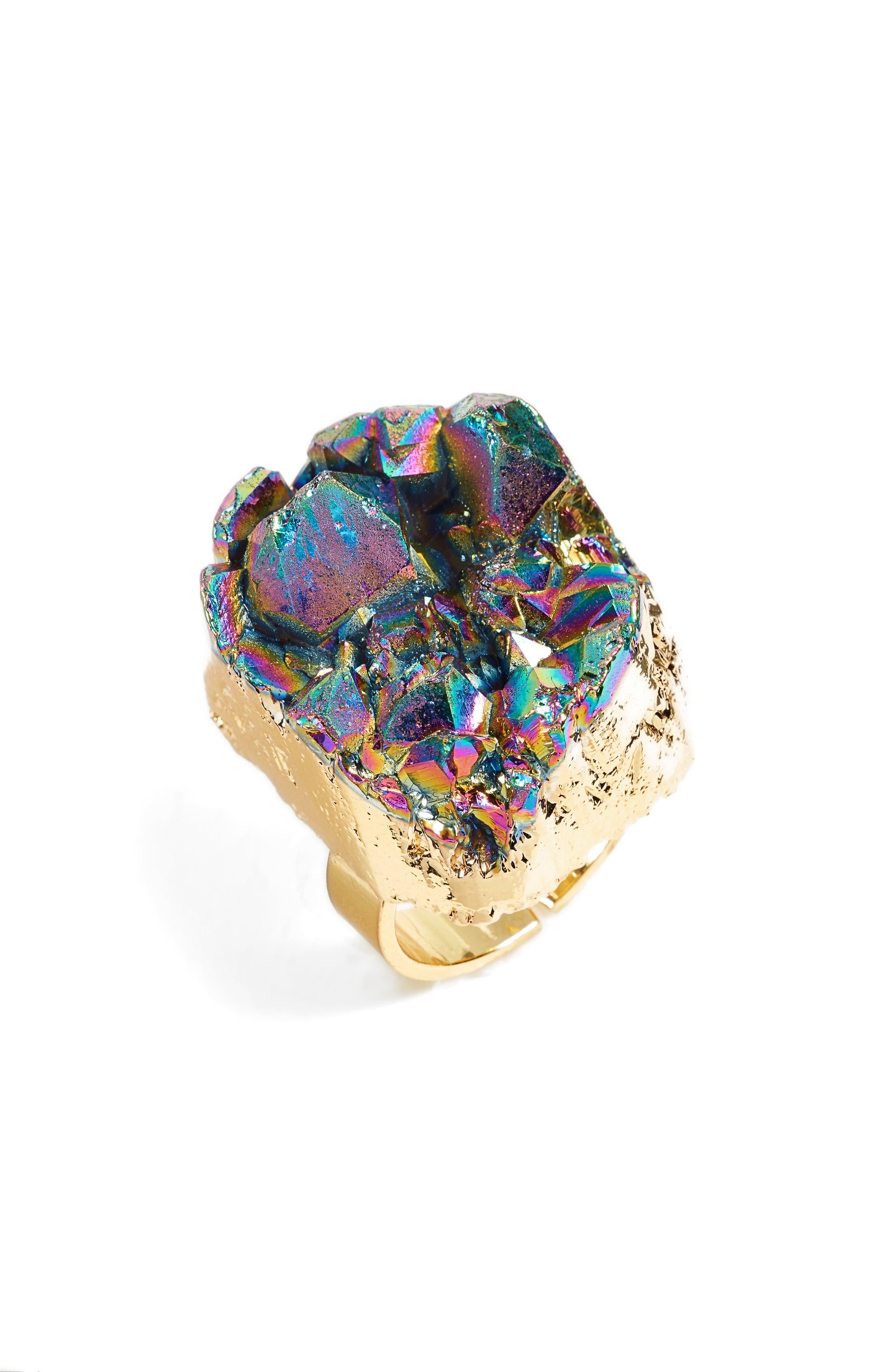 Noa Drusy Quartz Ring,                             Main thumbnail 1, color,                             Black