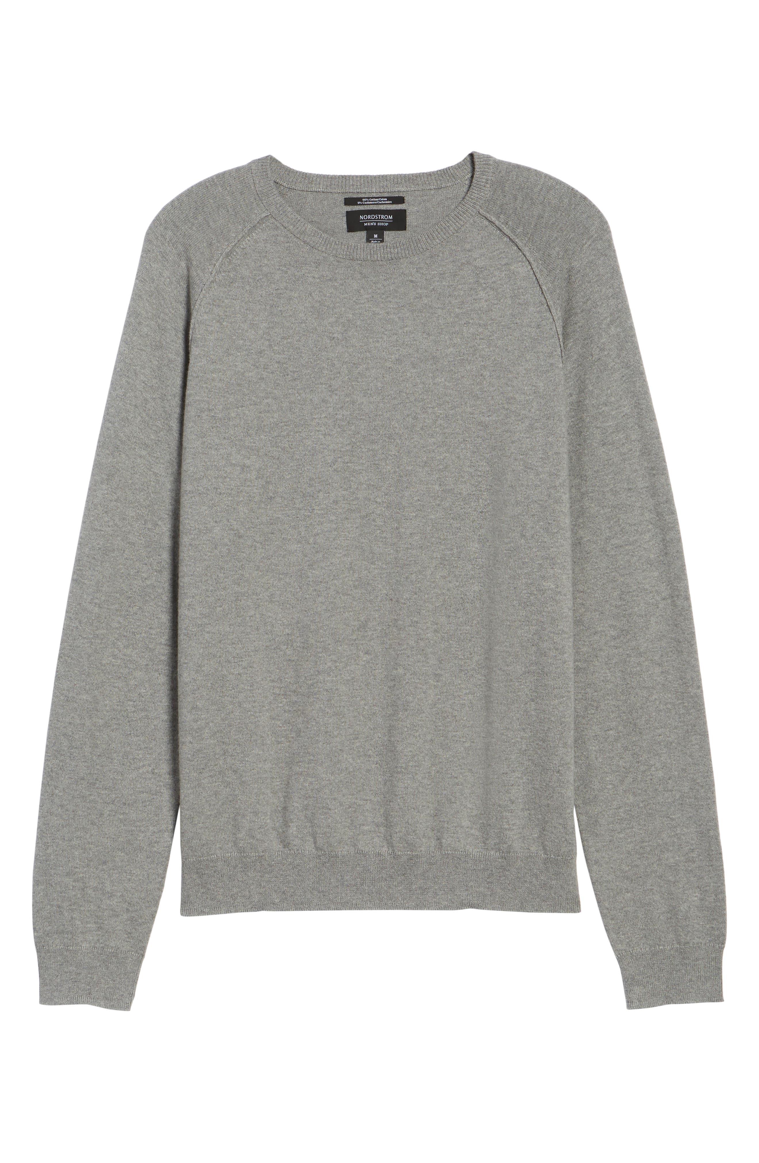 Saddle Shoulder Cotton & Cashmere Sweater,                             Alternate thumbnail 6, color,                             Grey Heather